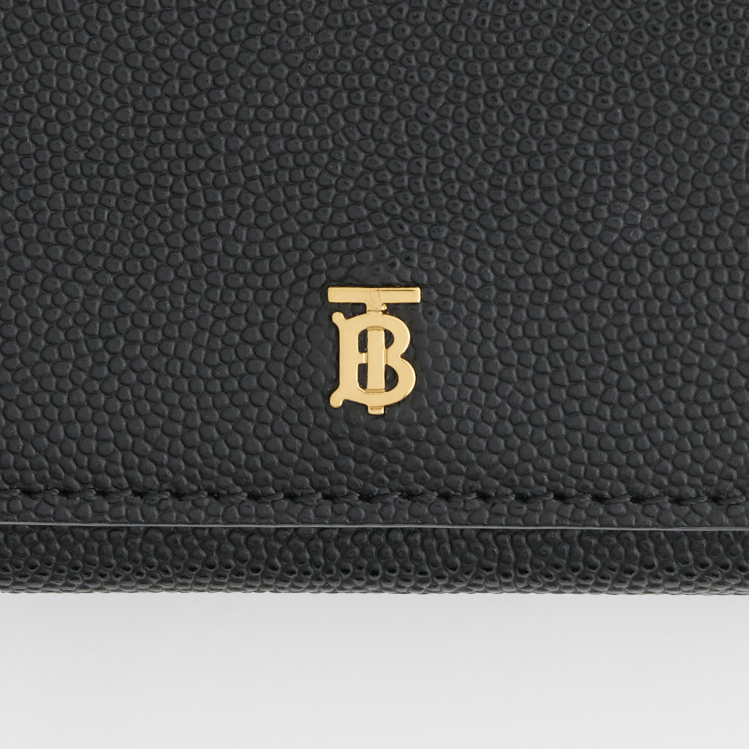 Monogram Motif Grainy Leather Folding Wallet in Black - Women | Burberry - 2