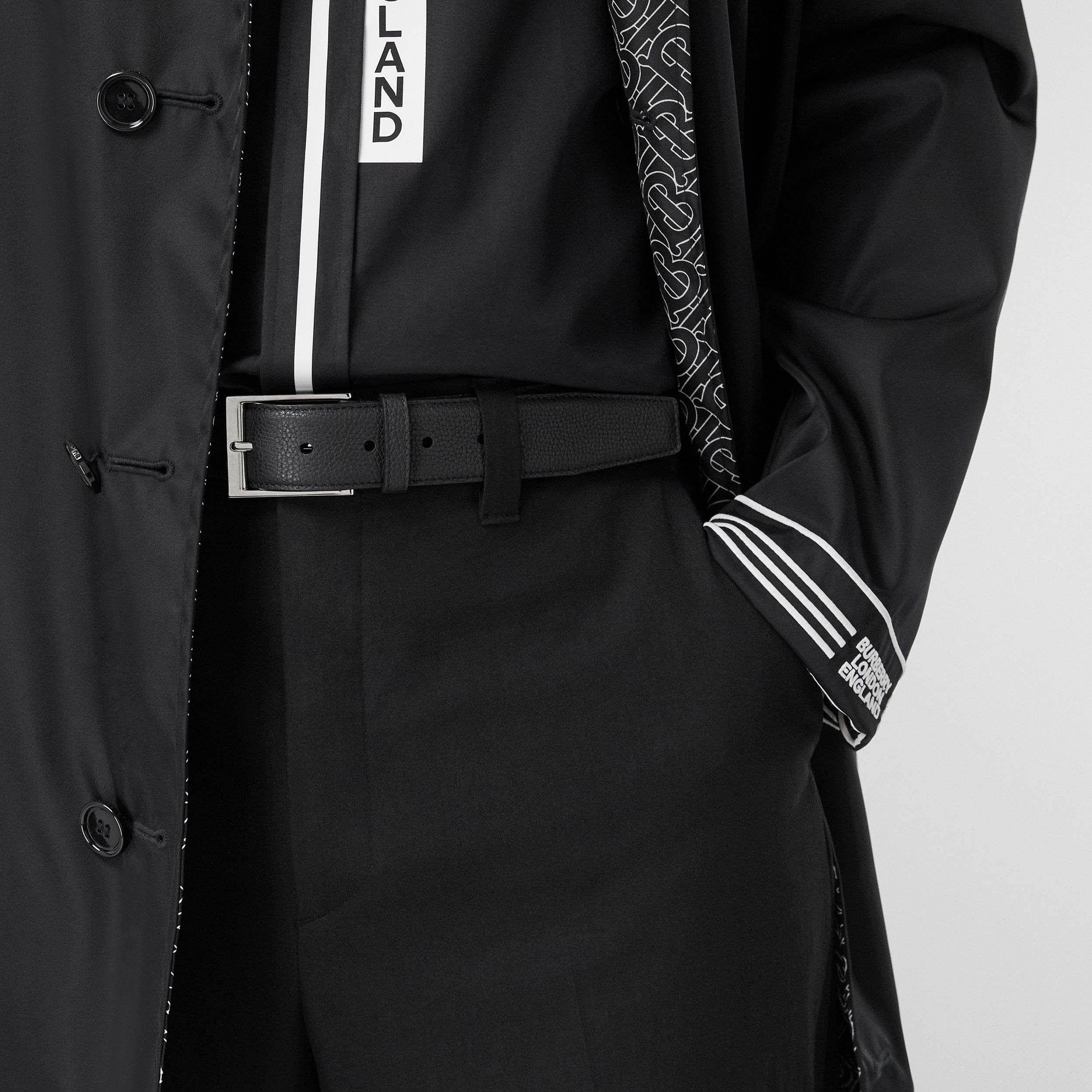 Grainy Leather Belt in Black - Men | Burberry - 3