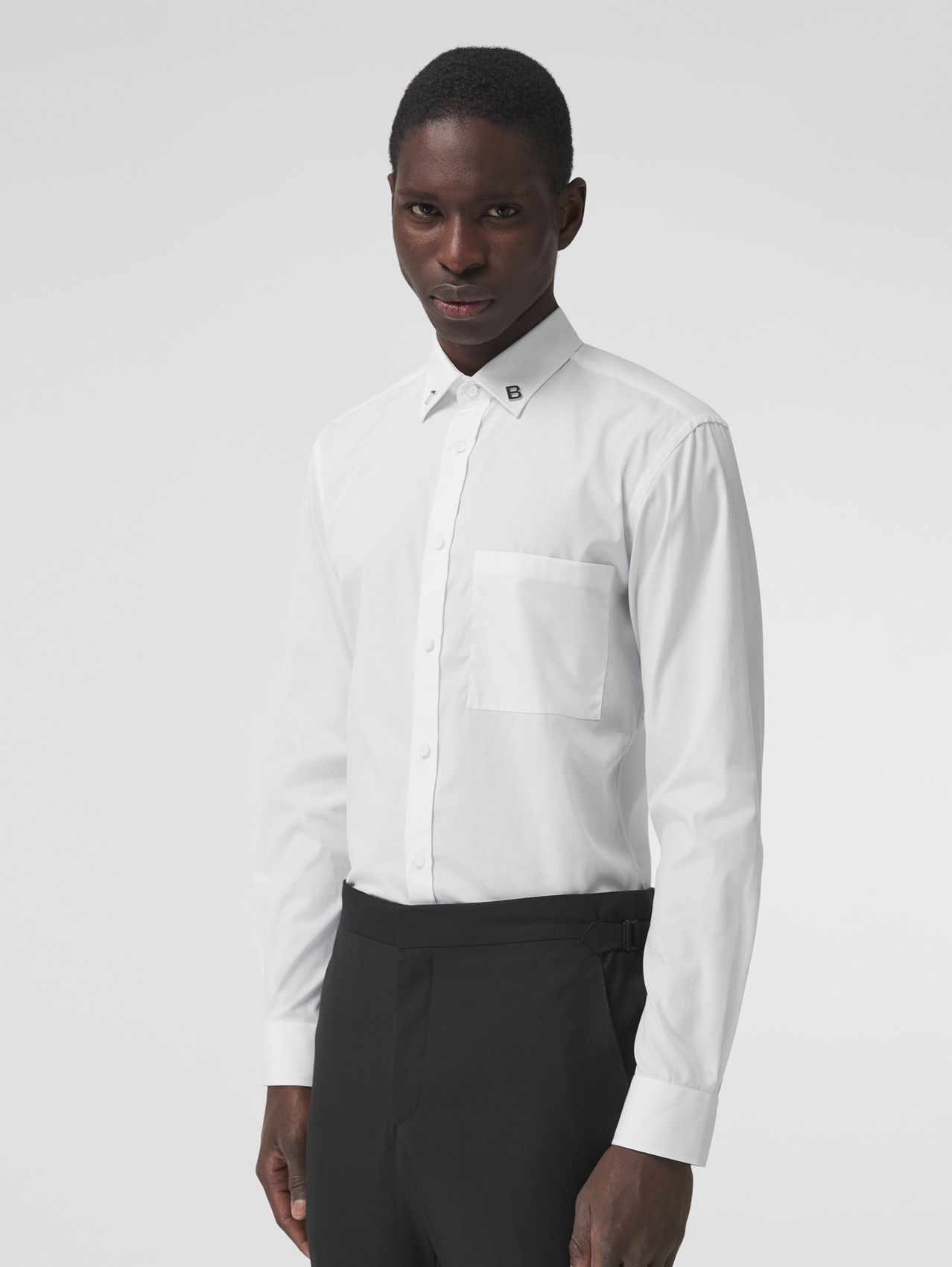 Slim Fit Letter Motif Stretch Cotton Poplin Shirt in White