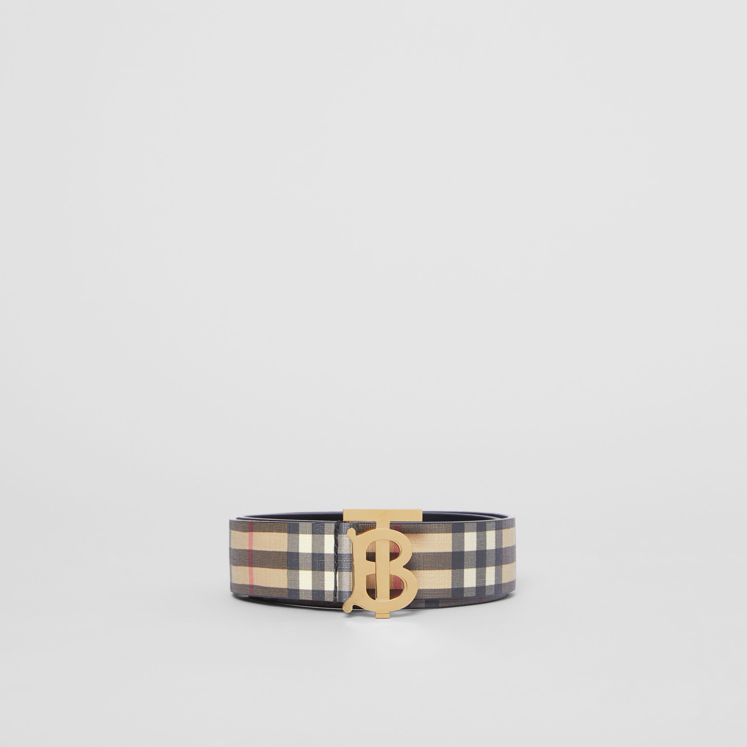 Monogram Motif Vintage Check E-canvas Belt in Archive Beige - Women | Burberry Hong Kong S.A.R. - 4