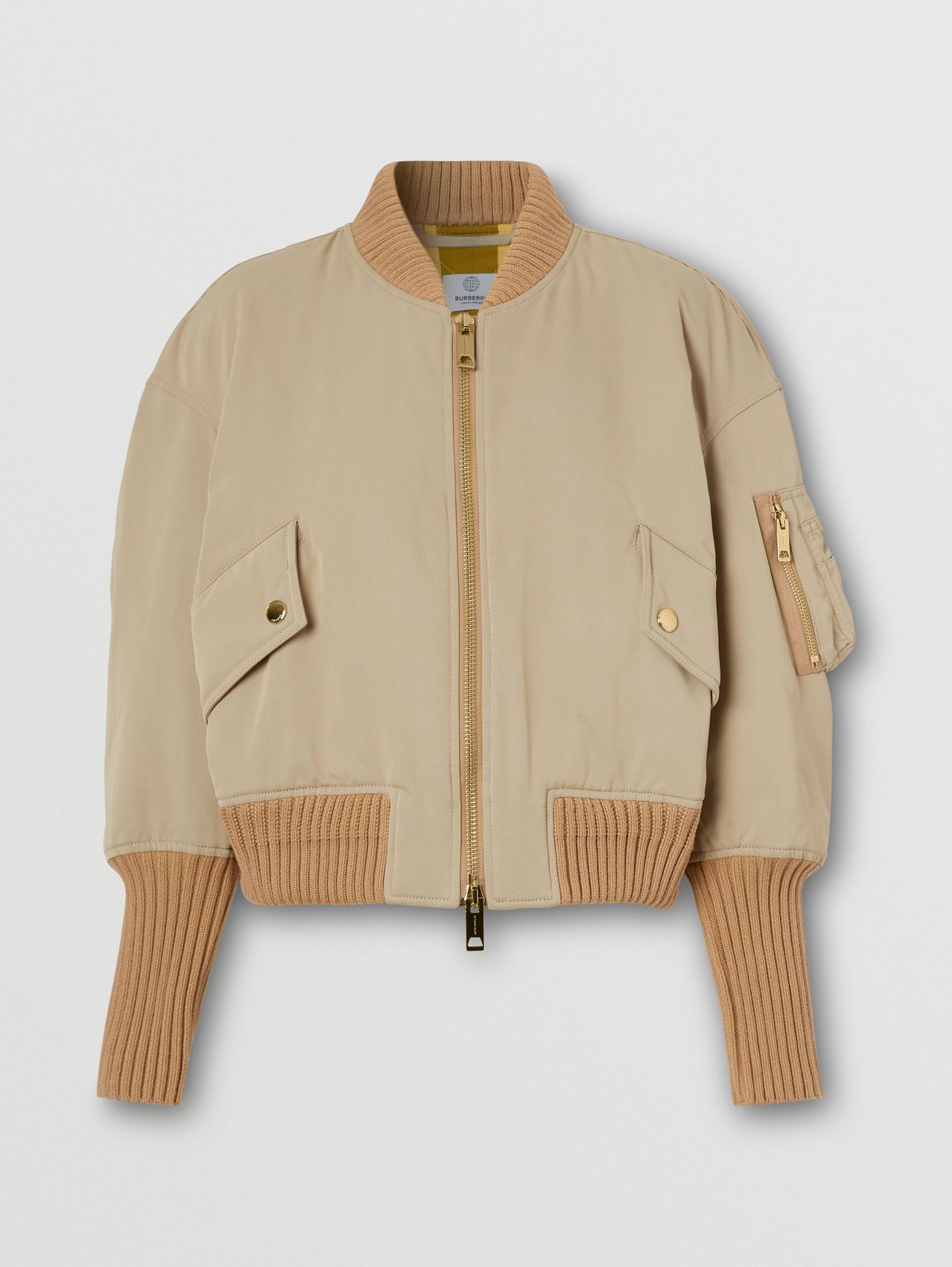 Logo Appliqué Nylon Bomber Jacket in Soft Fawn