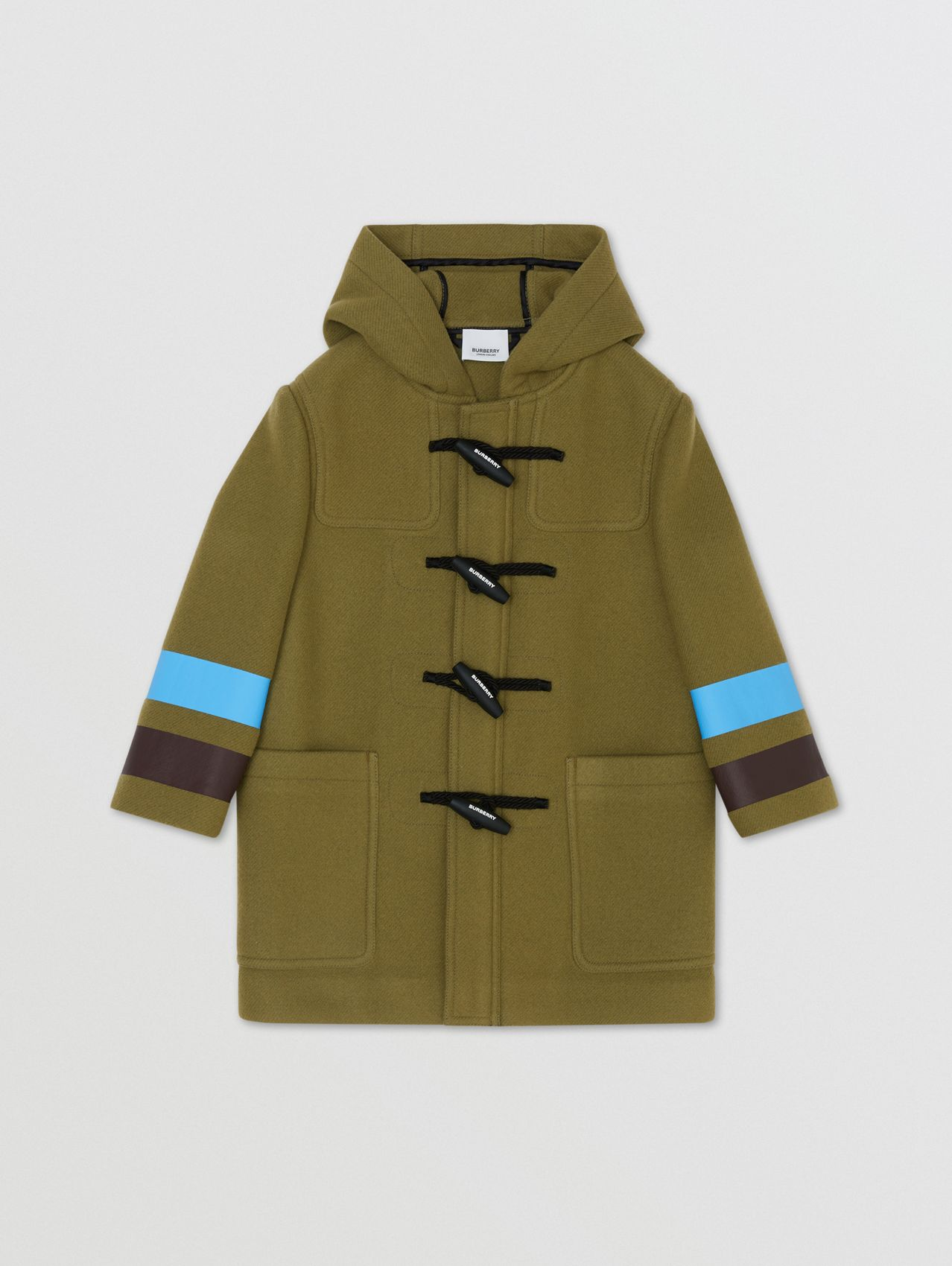 Logo and Stripe Print Wool Duffle Coat in Oregano