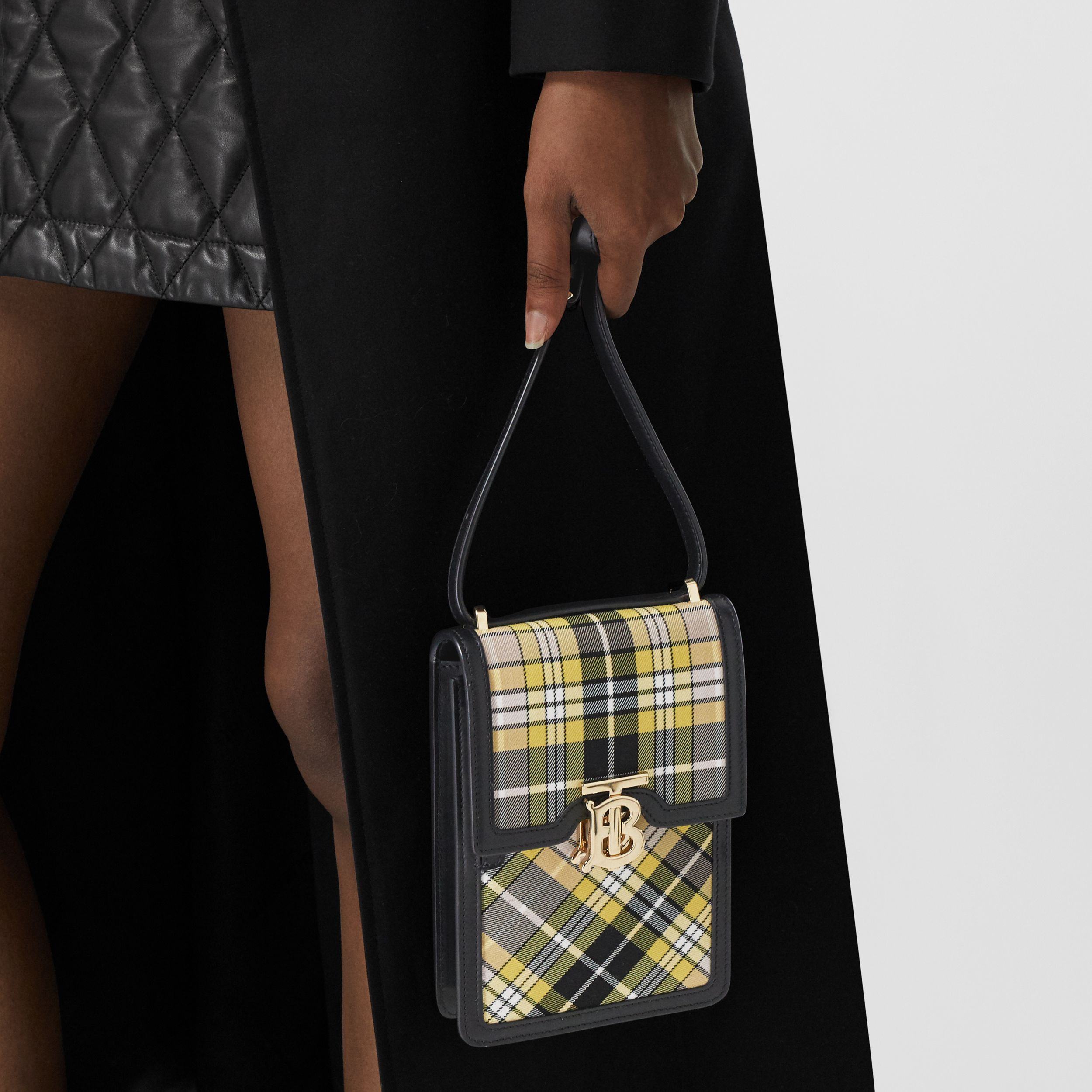 Tartan Cotton and Leather Robin Bag in Marigold Yellow - Women | Burberry - 3