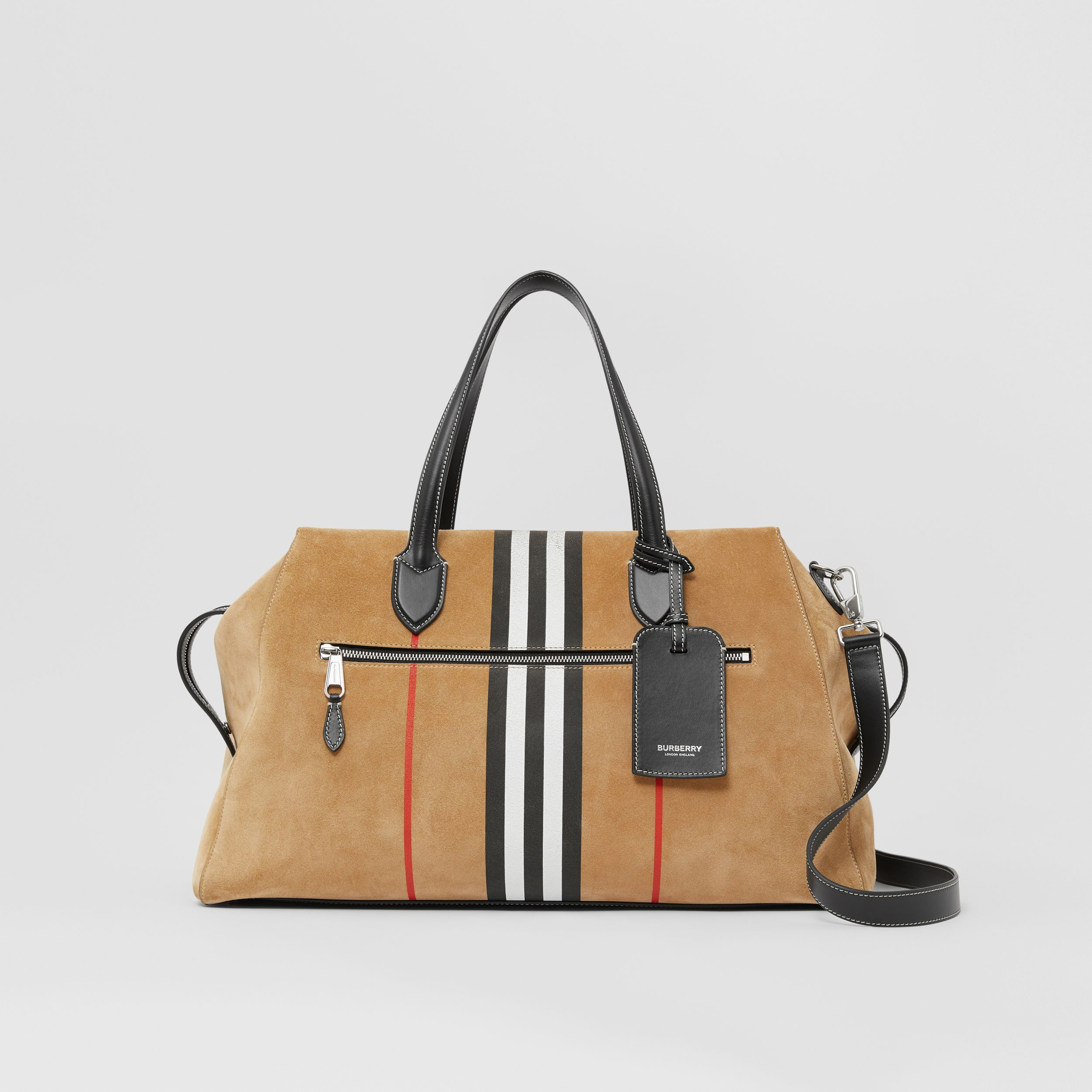 Icon Stripe Suede and Topstitched Leather Holdall in Archive Beige - Men | Burberry - 1