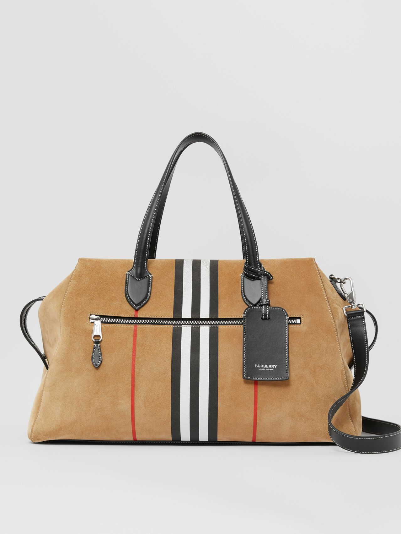 Icon Stripe Suede and Topstitched Leather Holdall in Archive Beige
