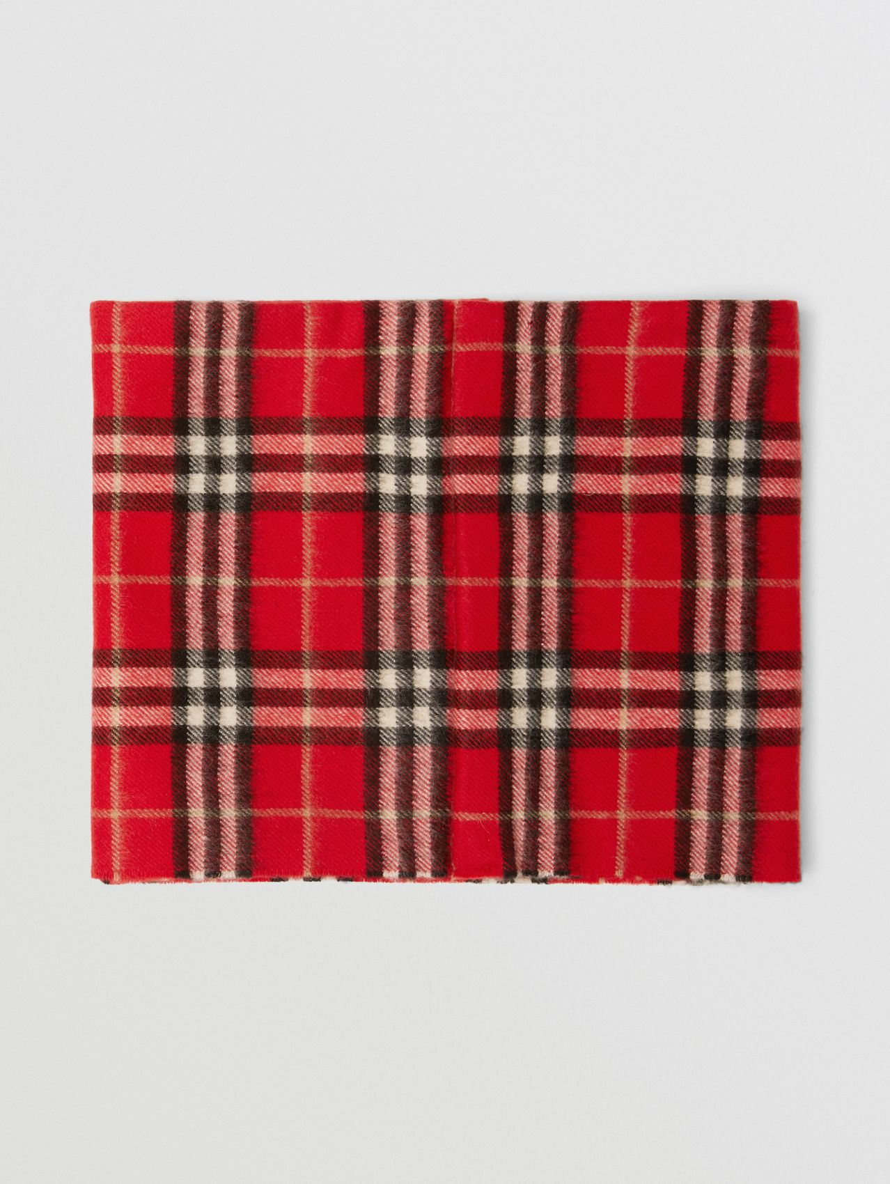 Vintage Check Cashmere Snood in Bright Red