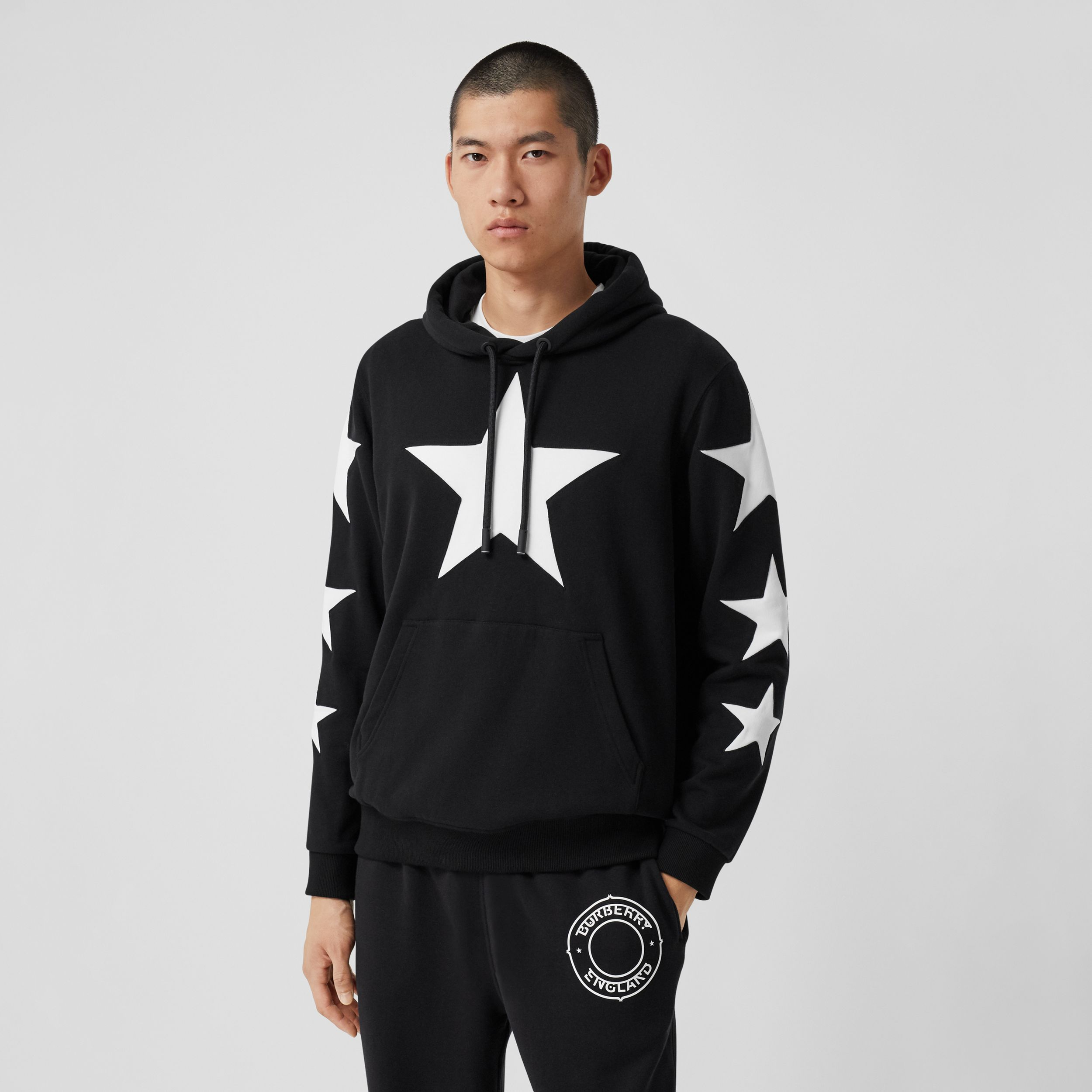 Star Motif Cotton Hoodie in Black | Burberry - 1