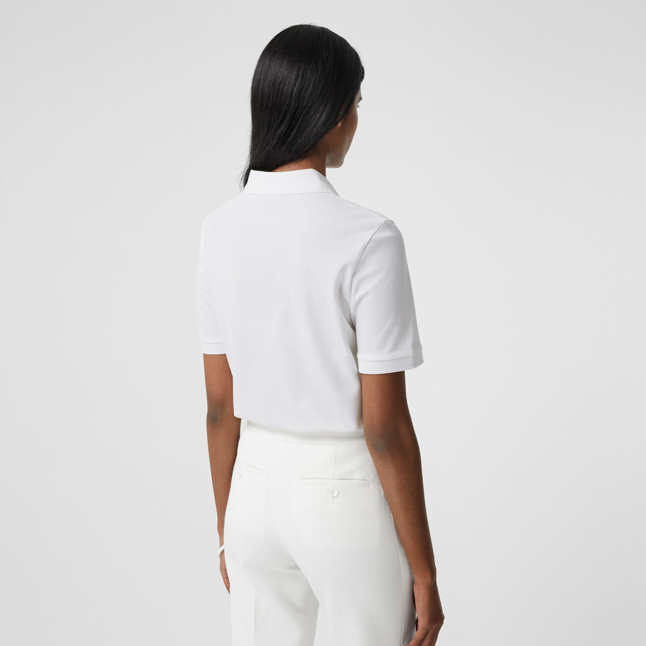 Monogram Motif Cotton Piqué Polo Shirt in White - Women | Burberry - 3