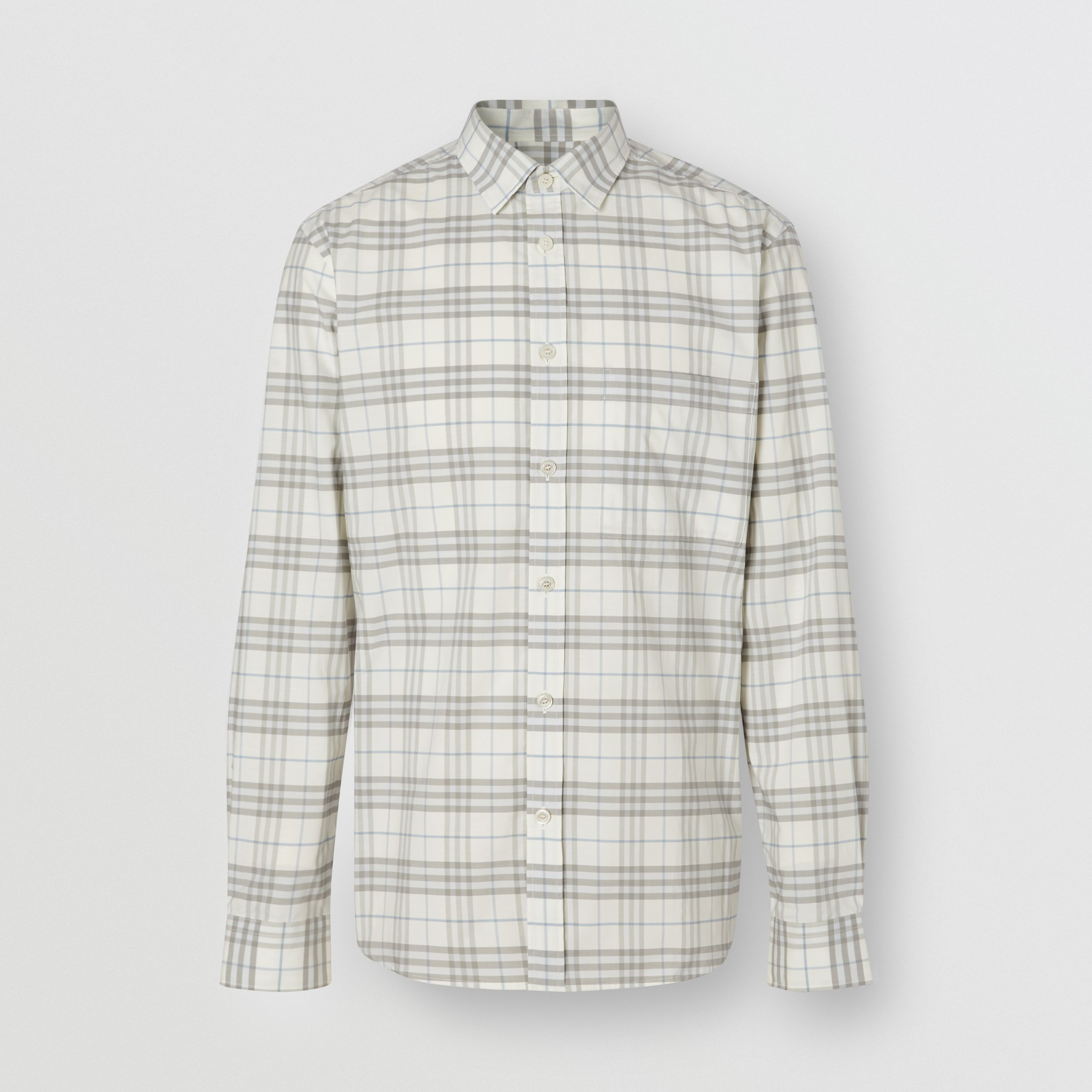 Small Scale Check Stretch Cotton Shirt in Parchment - Men | Burberry - 4