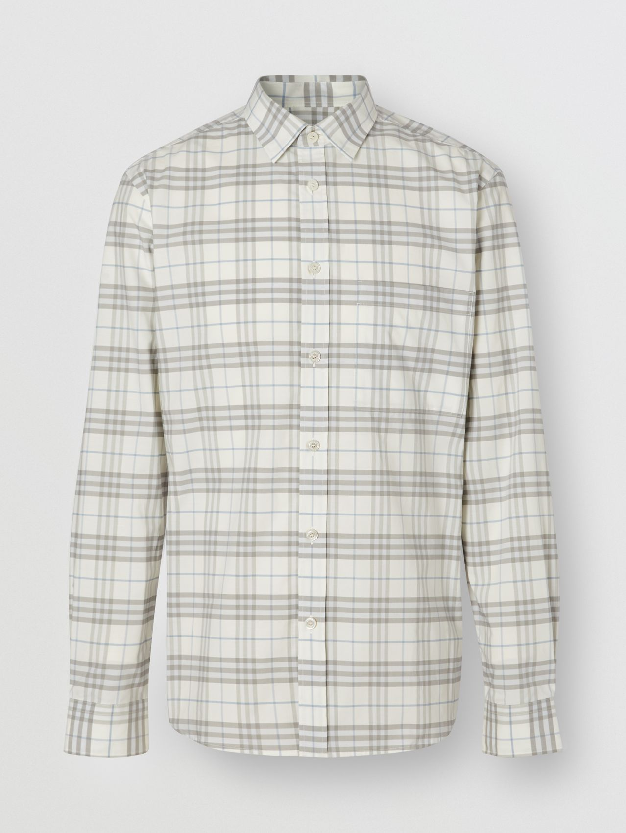 Small Scale Check Stretch Cotton Shirt in Parchment