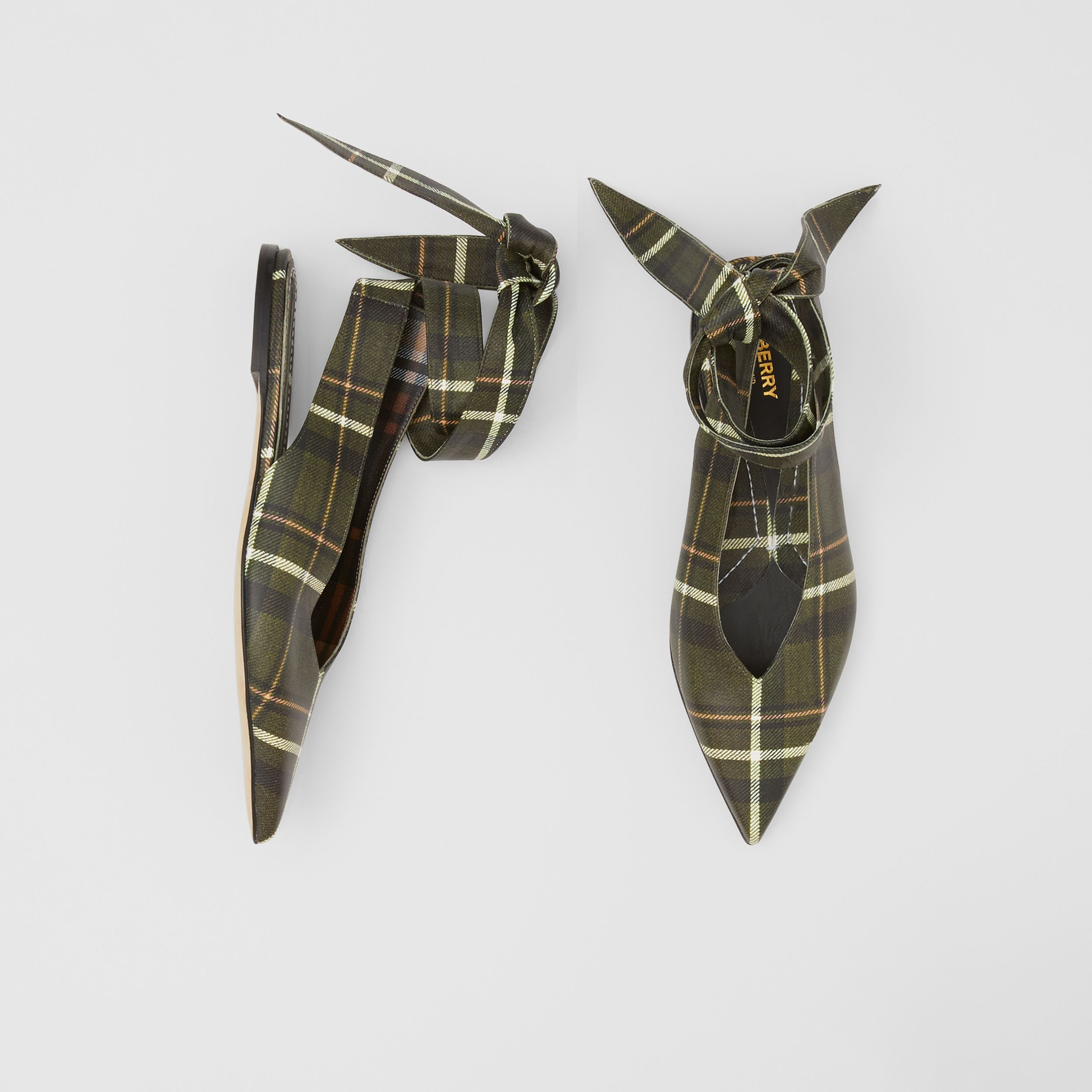 Tie Detail Tartan Print Leather Point-toe Mules in Dark Khaki Green - Women | Burberry - 1