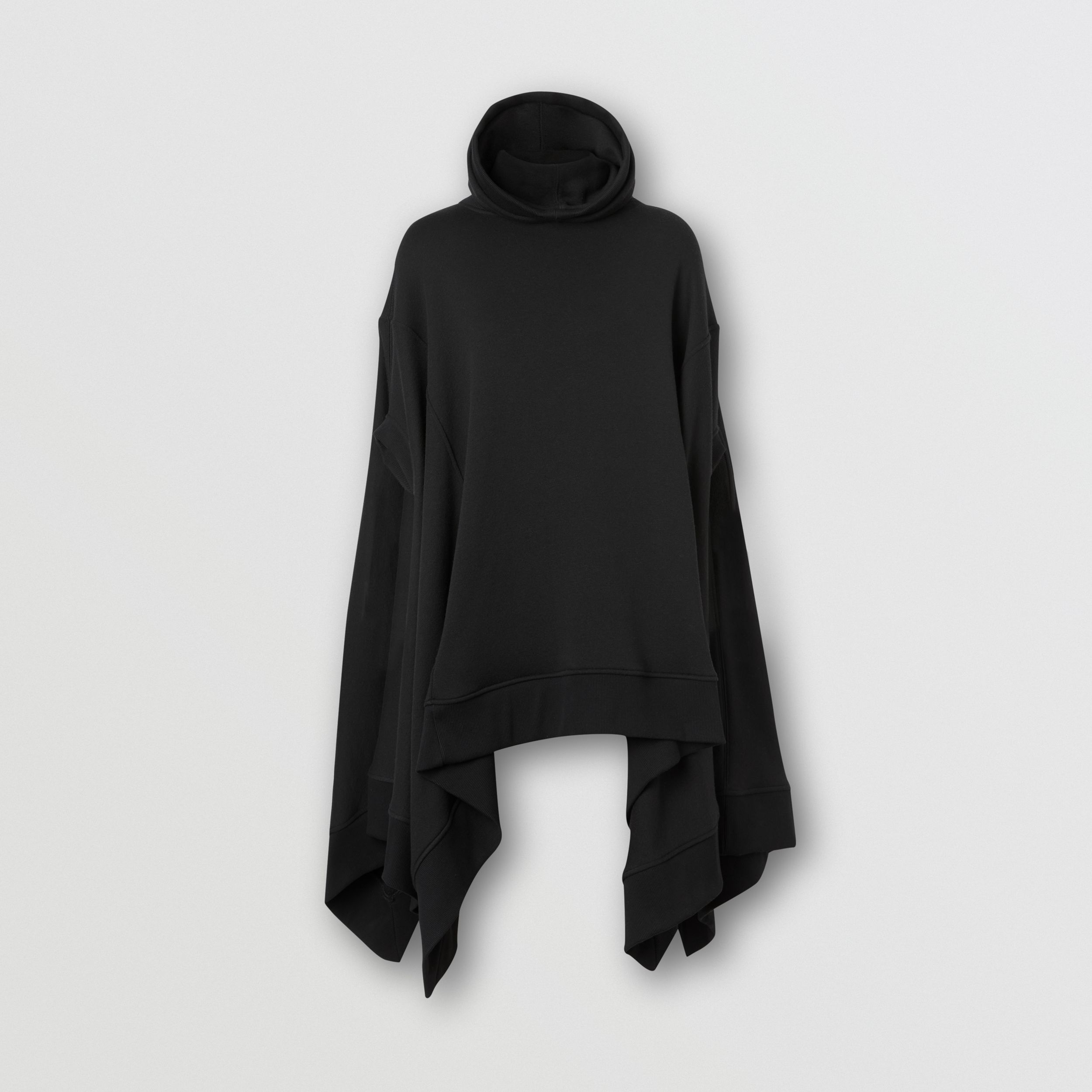 Cut-out Sleeve Jersey Hooded Cape in Black - Women | Burberry - 4