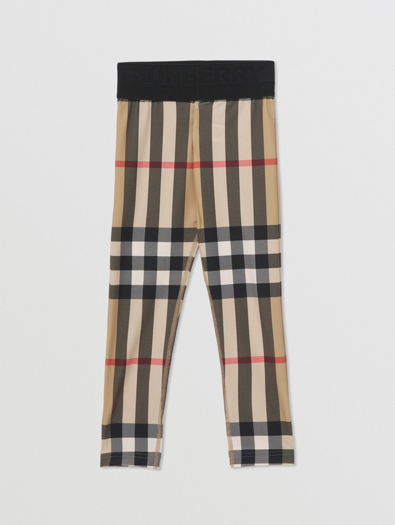 Check Stretch Jersey Leggings in Archive Beige