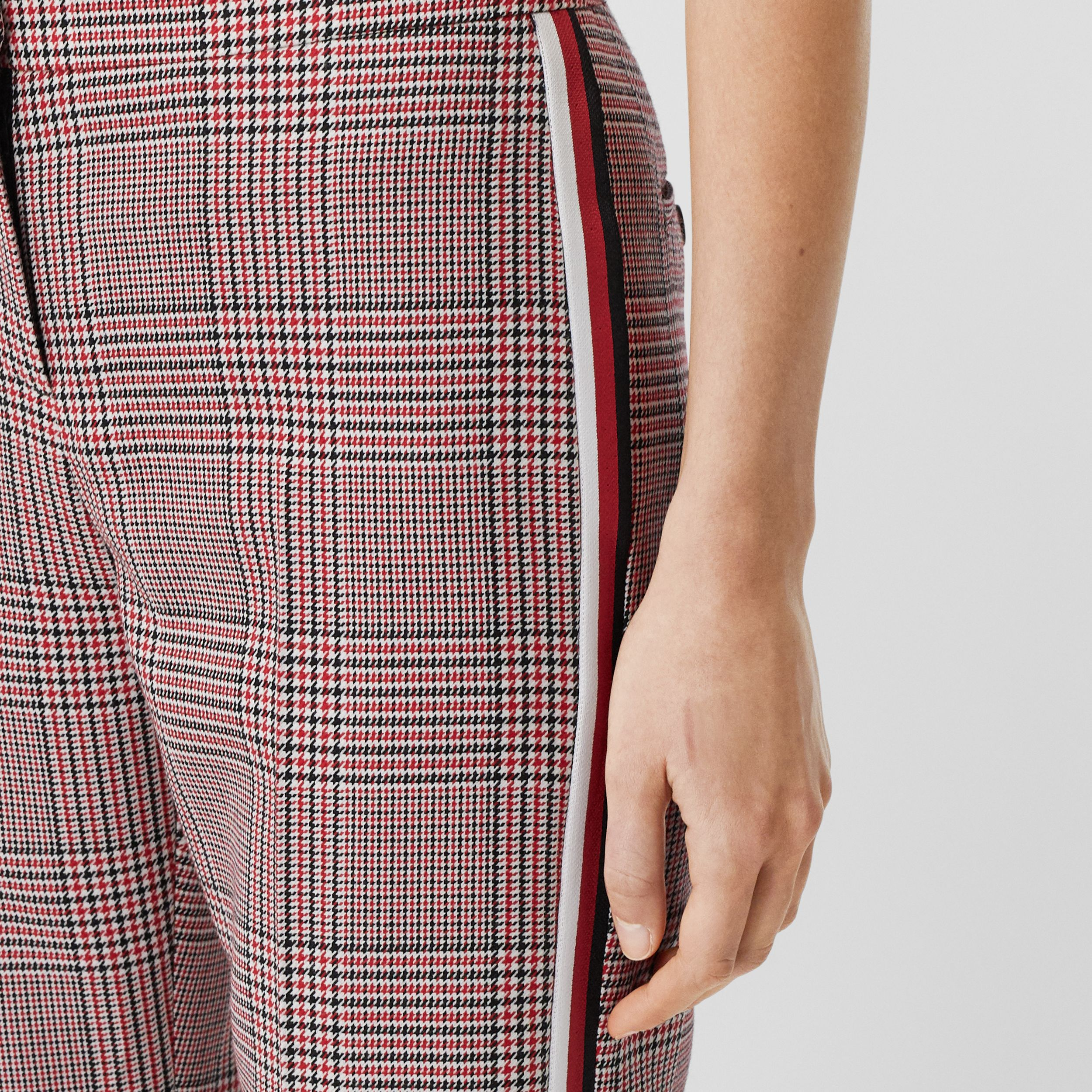 Side Stripe Houndstooth Check Wool Tailored Trousers in Bright Red - Women | Burberry - 2