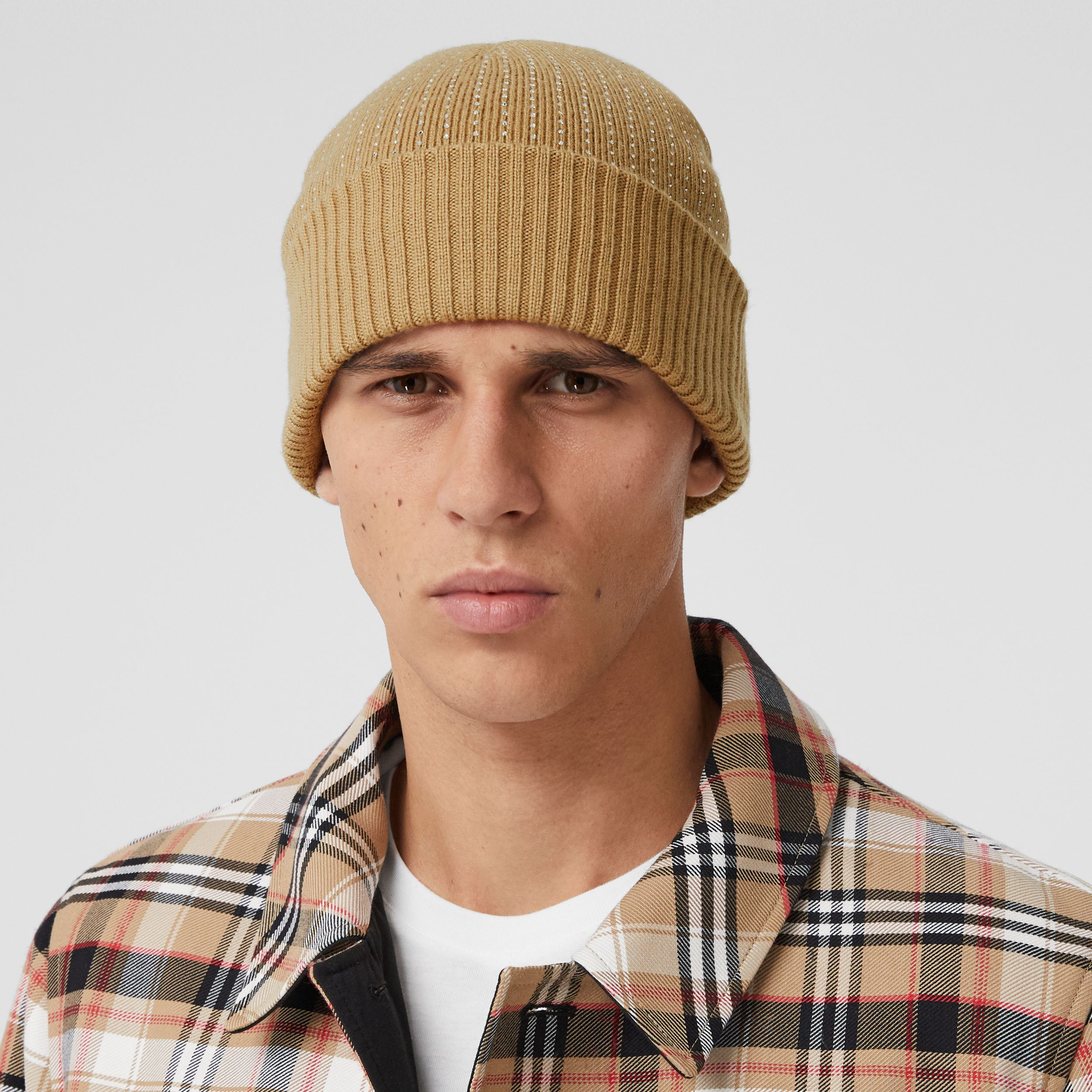Crystal Pinstriped Merino Wool Beanie in Archive Beige | Burberry - 4