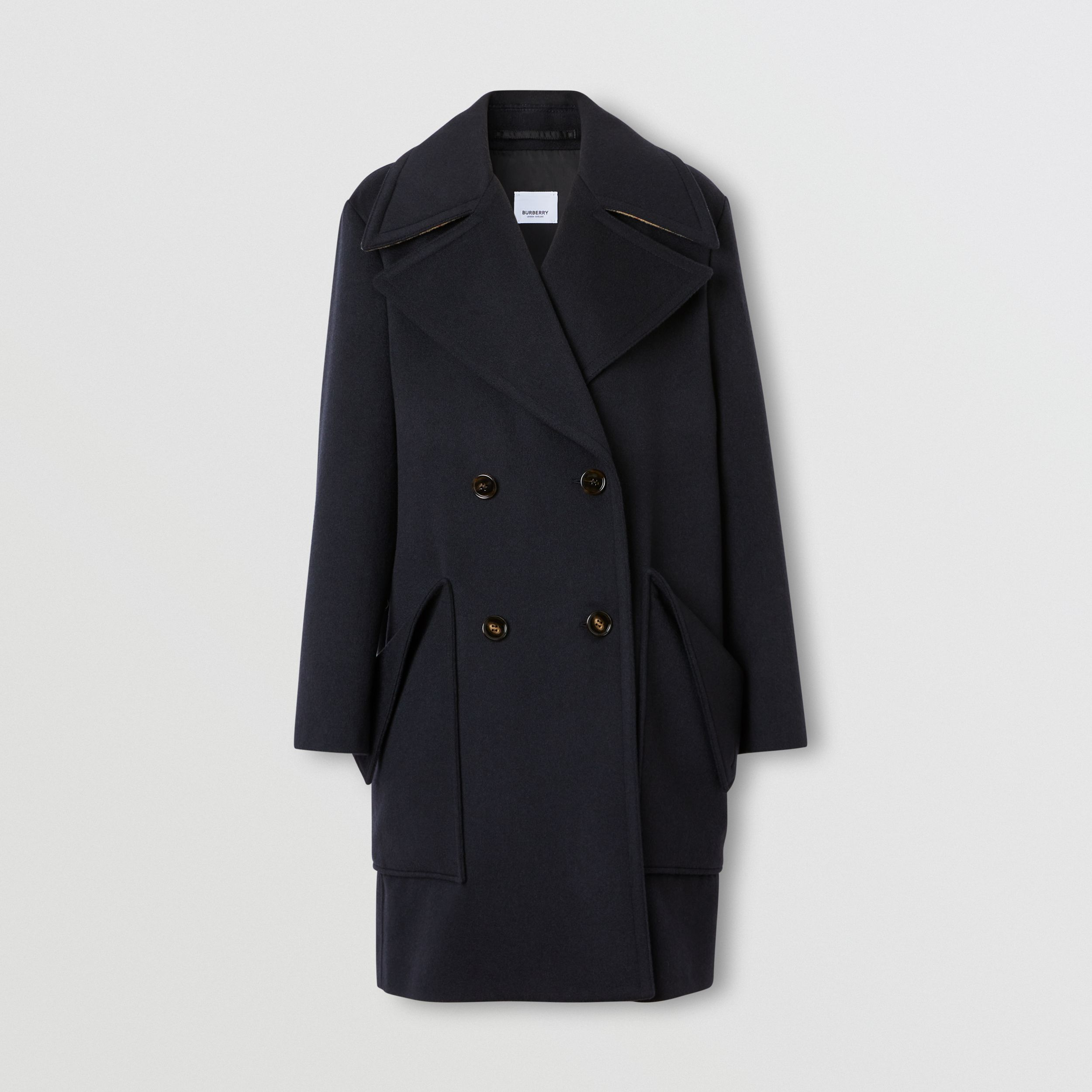 Pocket Detail Cashmere Pea Coat in Navy - Women | Burberry - 4