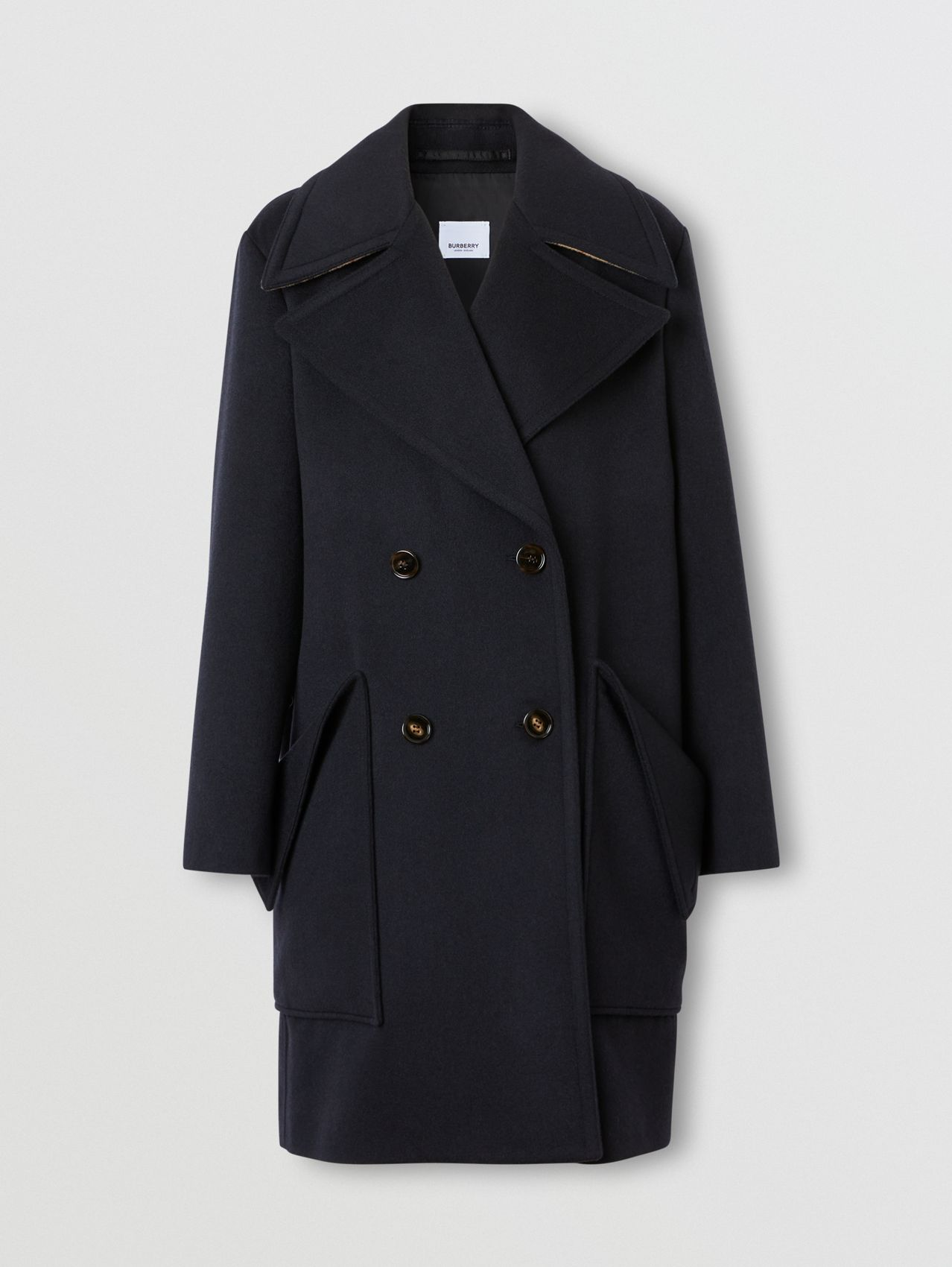 Pocket Detail Cashmere Pea Coat in Navy