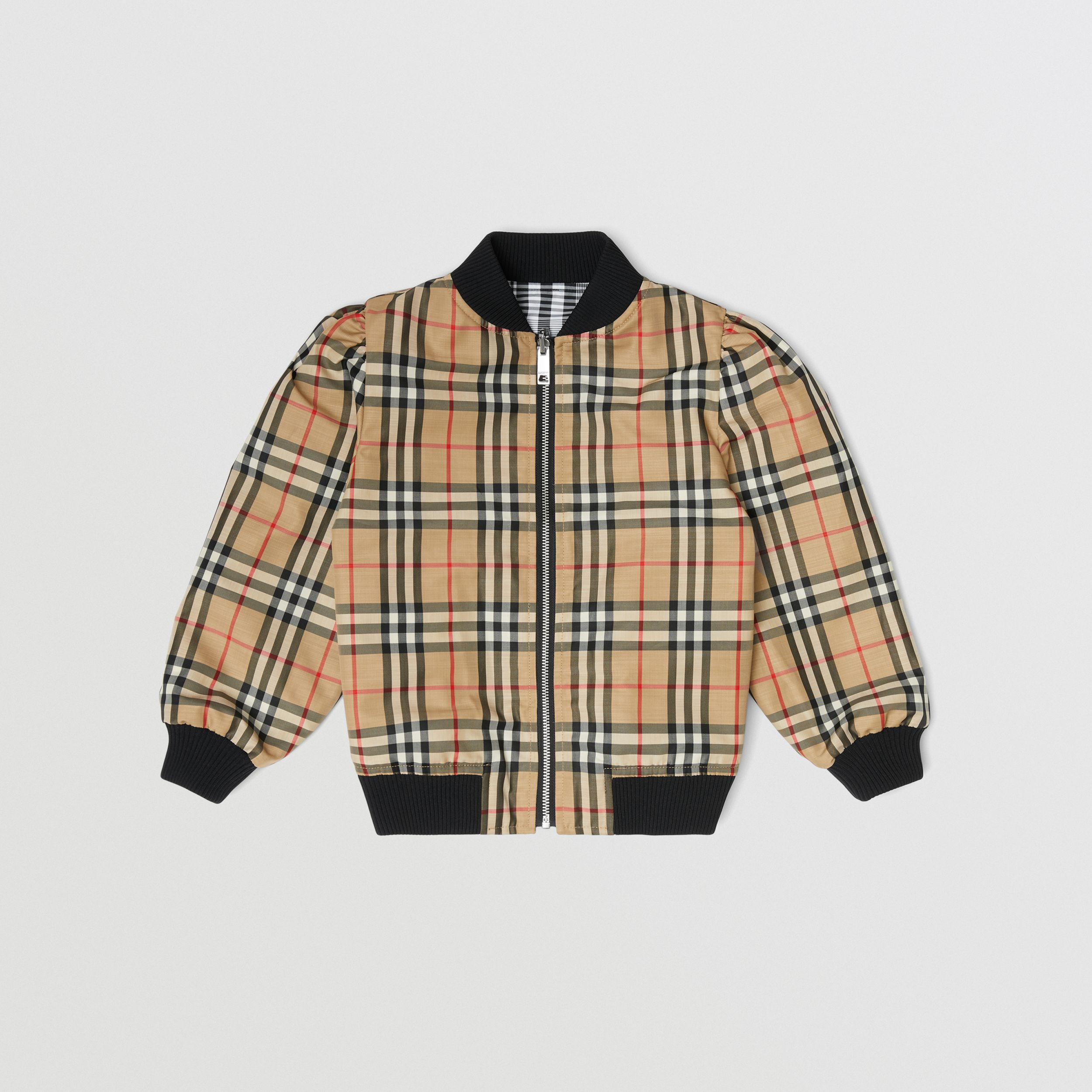 Logo Appliqué Reversible Check Bomber Jacket in Black | Burberry - 3