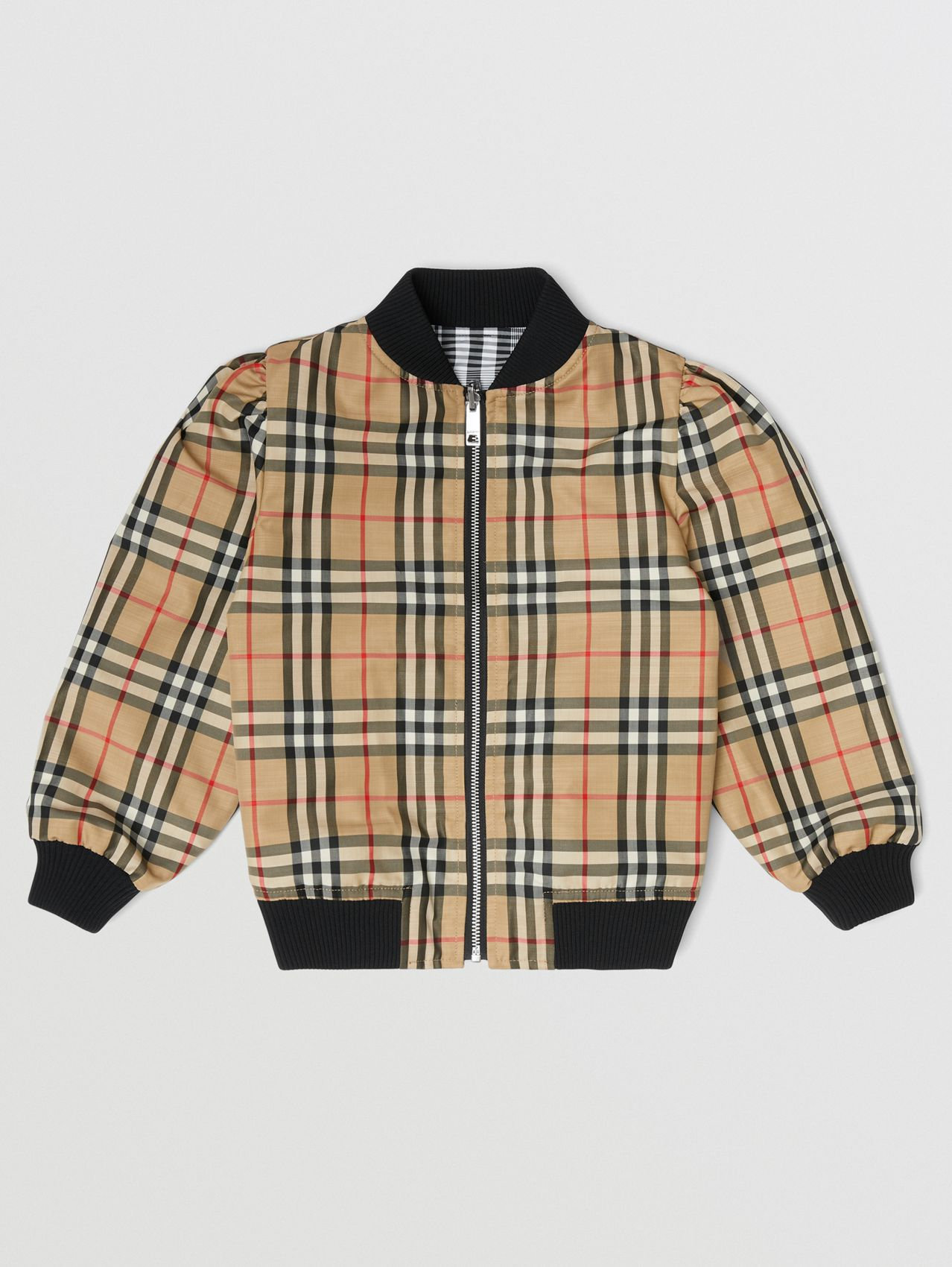 Logo Appliqué Reversible Check Bomber Jacket in Black