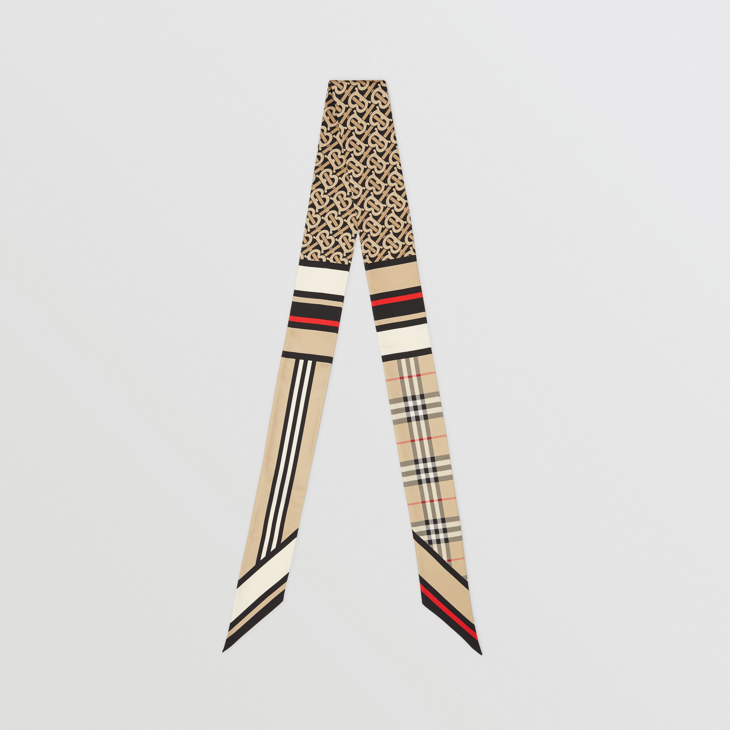 Montage Print Silk Skinny Scarf in Archive Beige | Burberry - 1