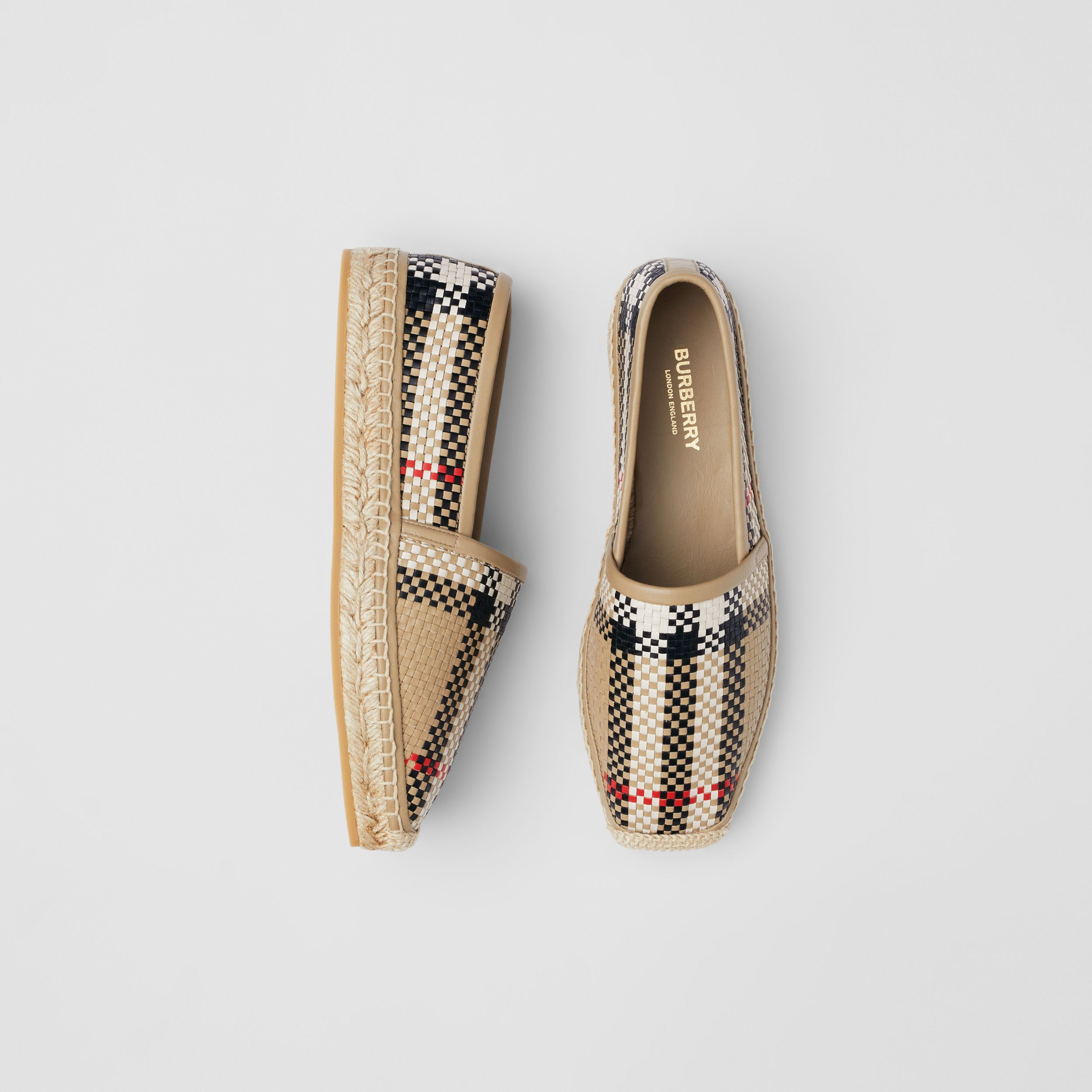 Latticed Leather Espadrilles in Archive Beige - Women | Burberry - 1
