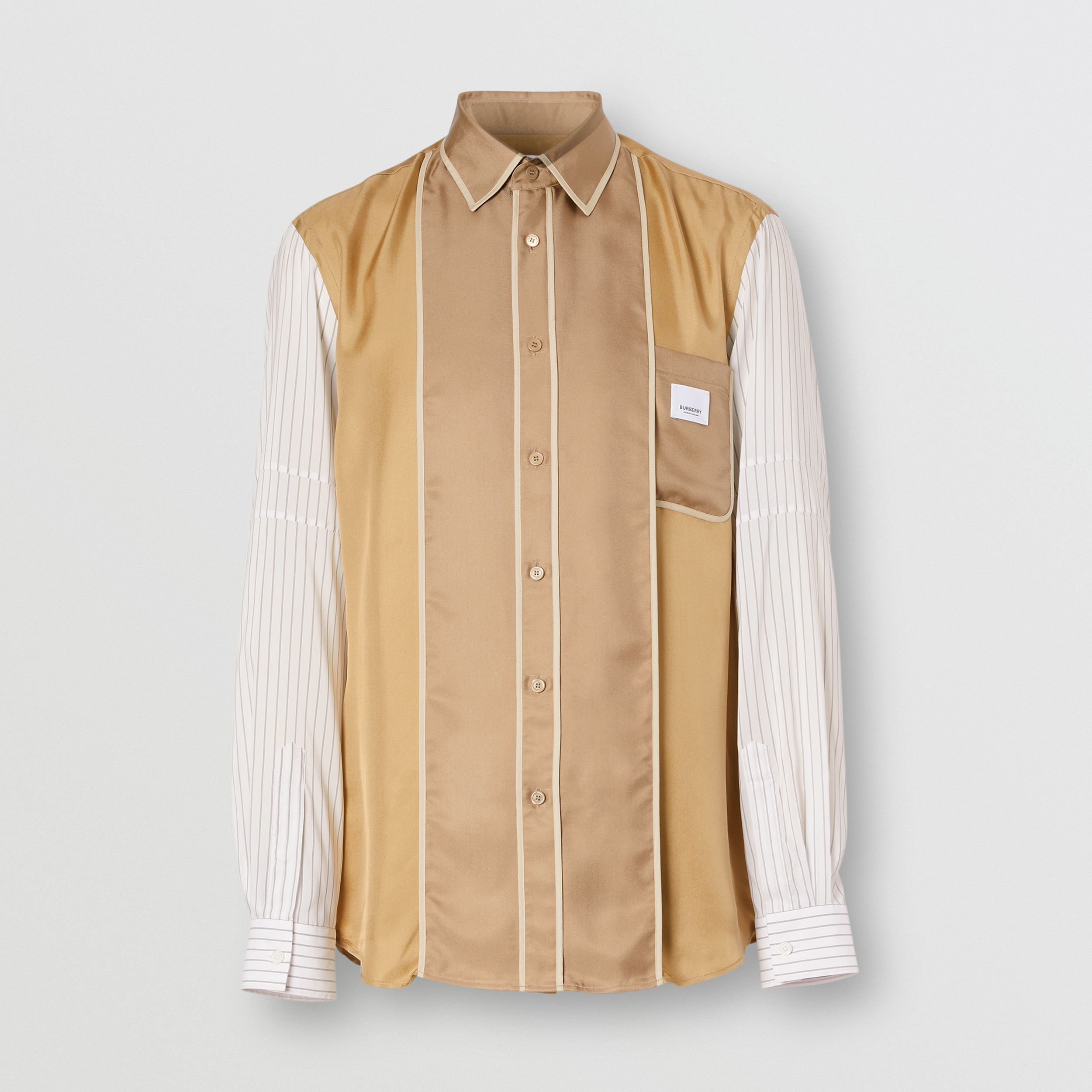 Classic Fit Panelled Silk and Pinstriped Shirt in Camel | Burberry - 4