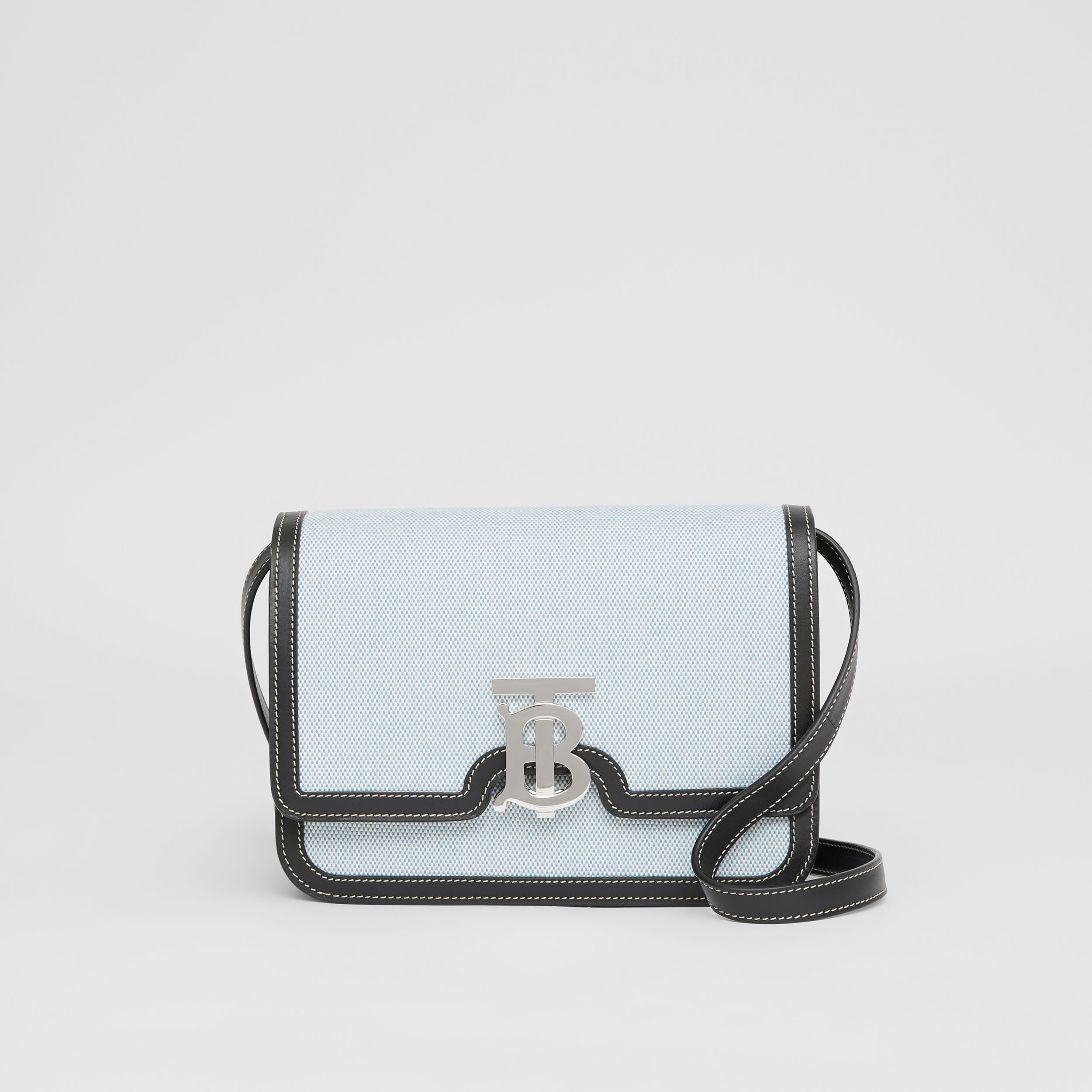 Small Two-tone Canvas and Leather TB Bag in Vivid Cobalt/black - Women | Burberry - 1