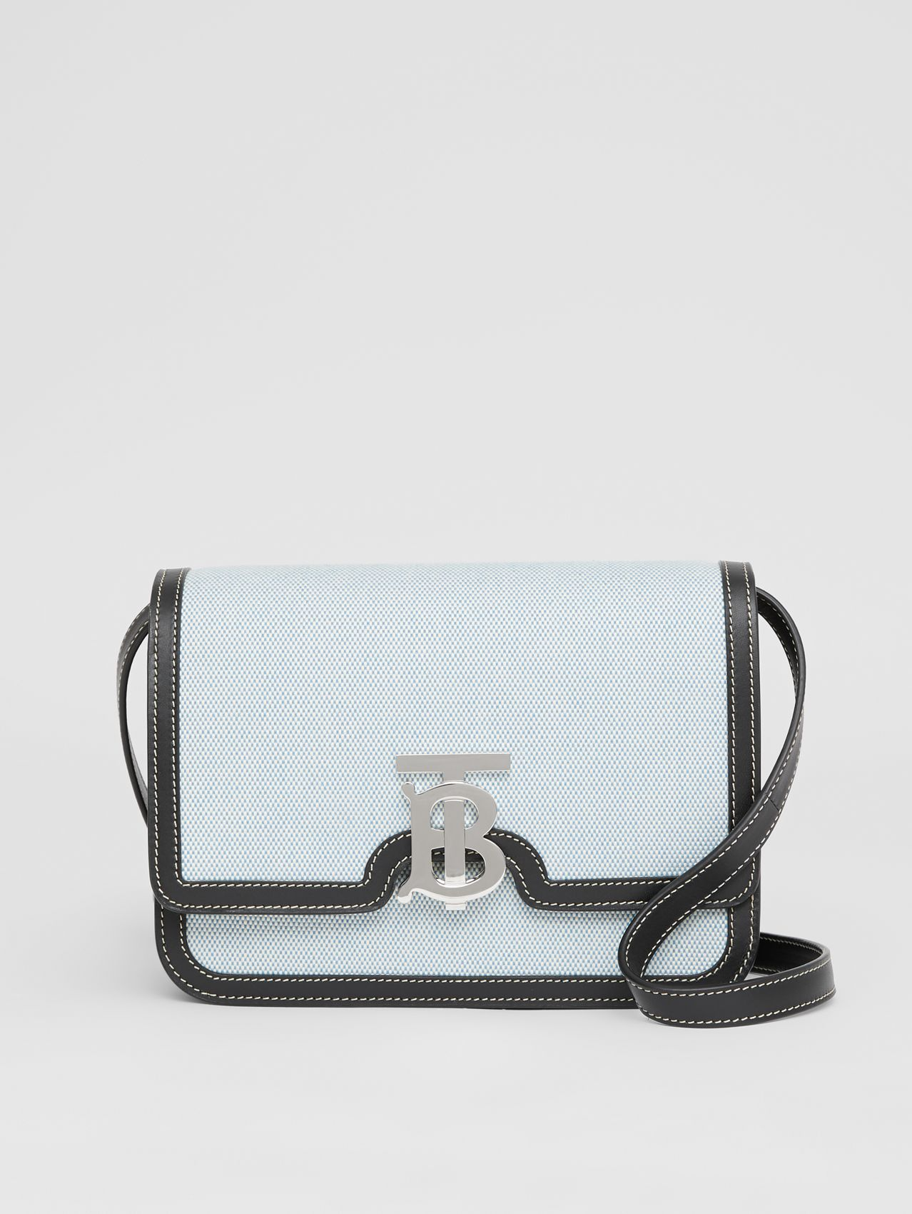 Small Two-tone Canvas and Leather TB Bag in Vivid Cobalt/black