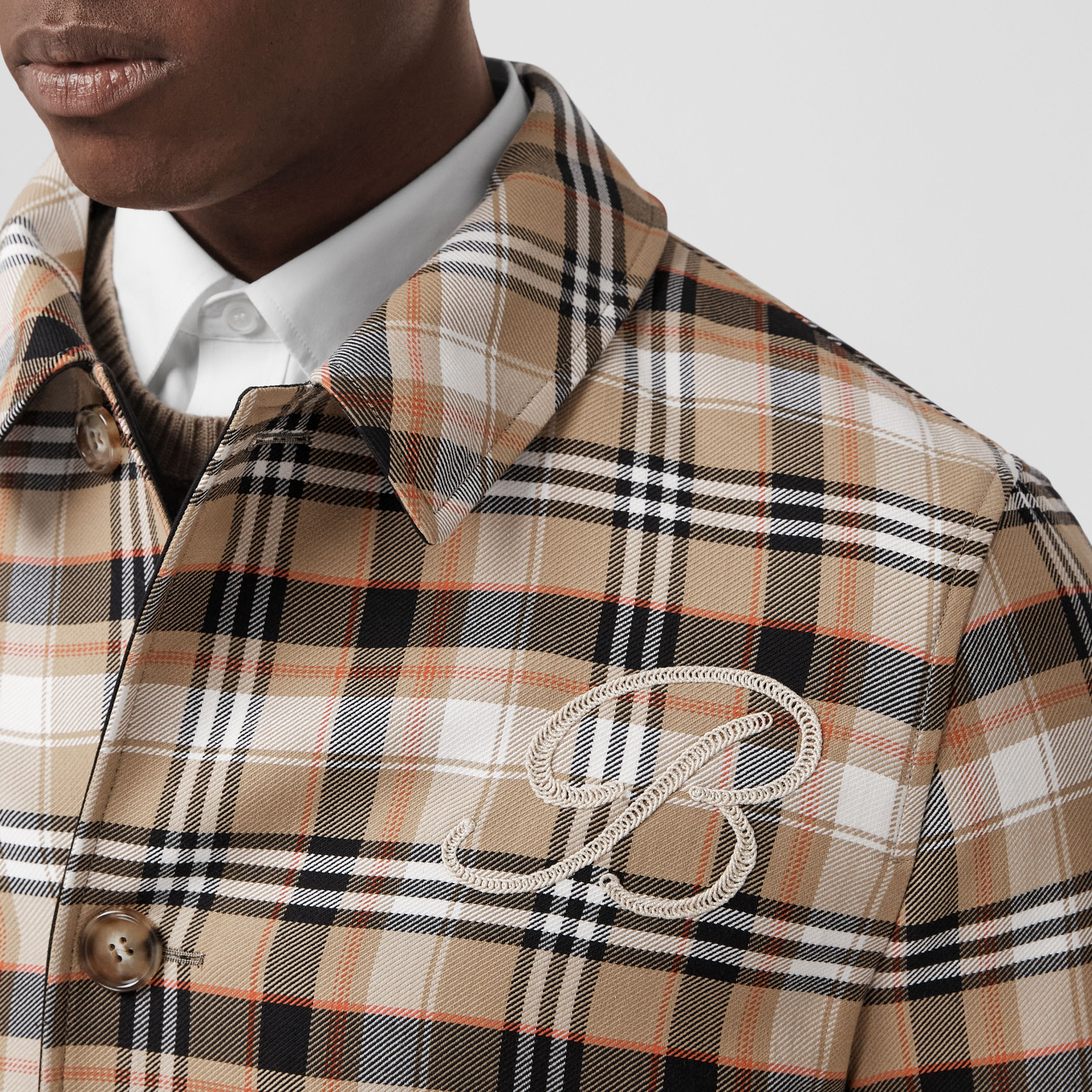 Reversible Check Wool Cotton Car Coat in Archive Beige - Men | Burberry United Kingdom - 2
