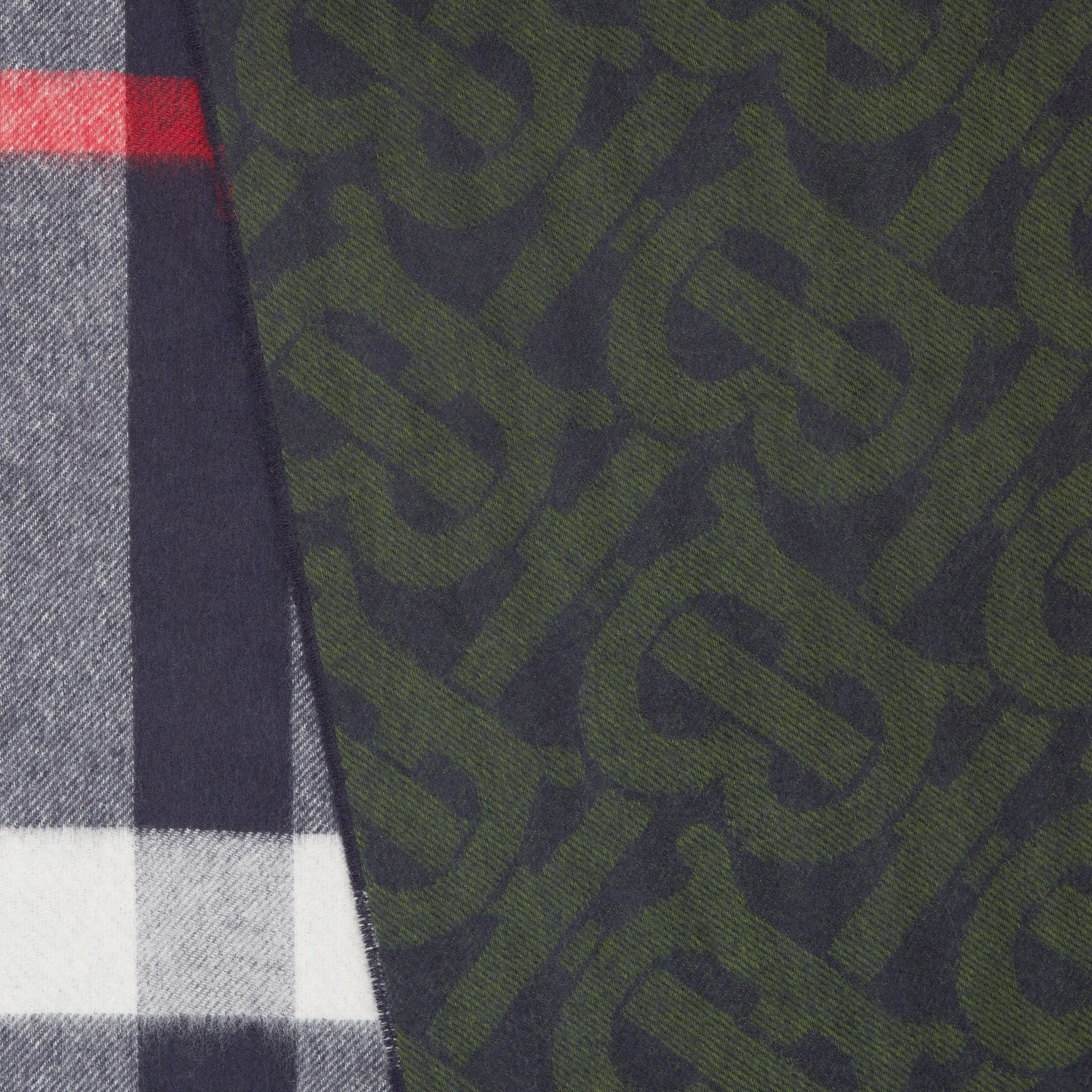 Reversible Check and Monogram Cashmere Scarf in Navy/caper Green | Burberry Hong Kong S.A.R. - 2