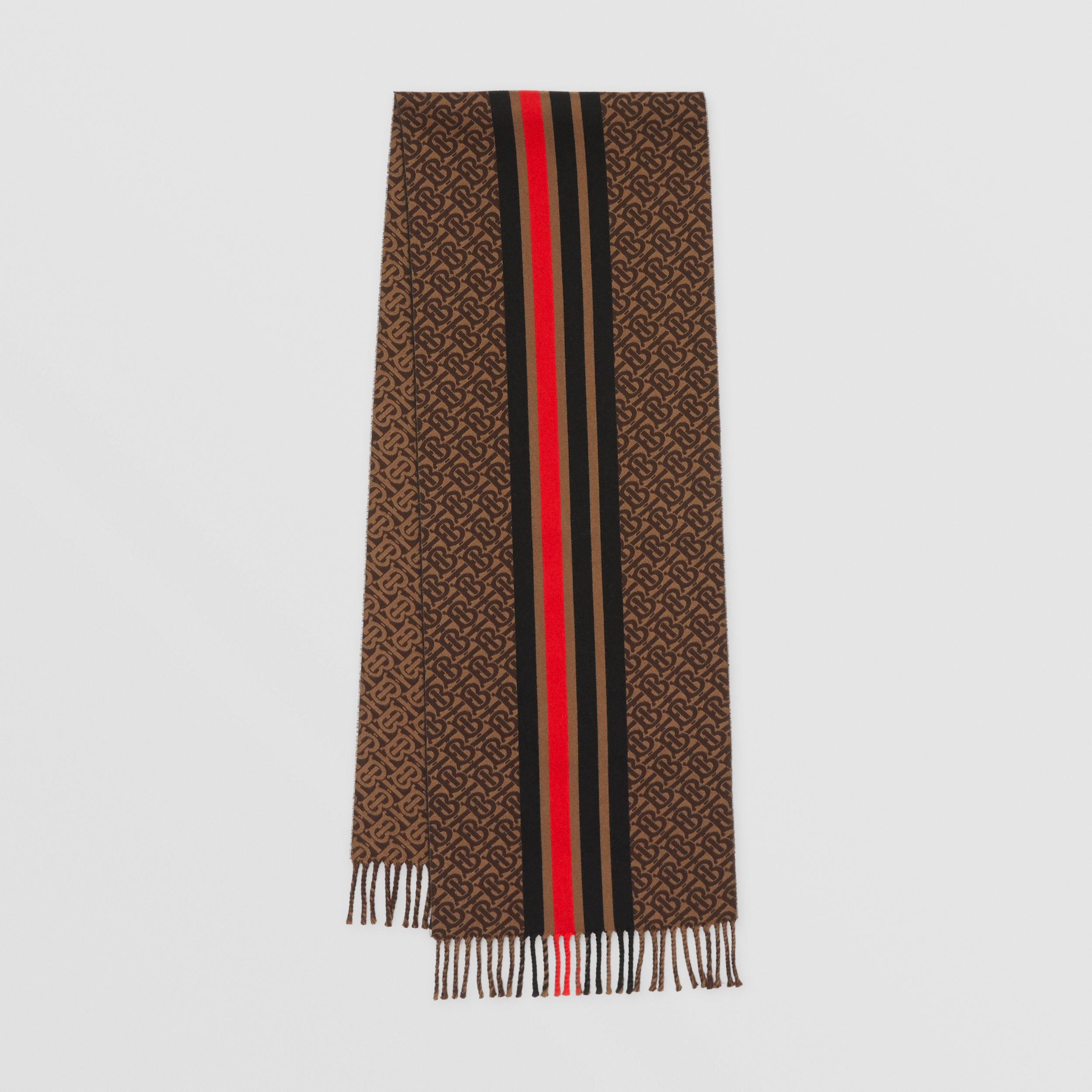 Striped Monogram Wool Cotton Jacquard Scarf in Bridle Brown | Burberry - 1