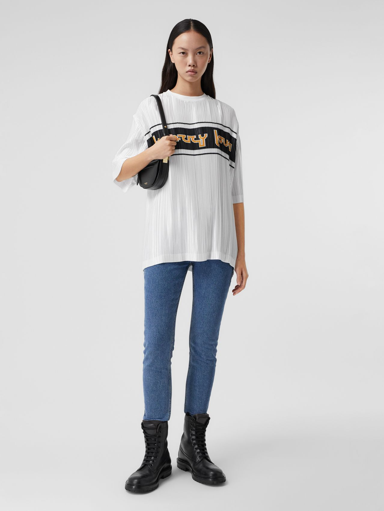 Slogan Print Satin Plissé T-shirt in Optic White