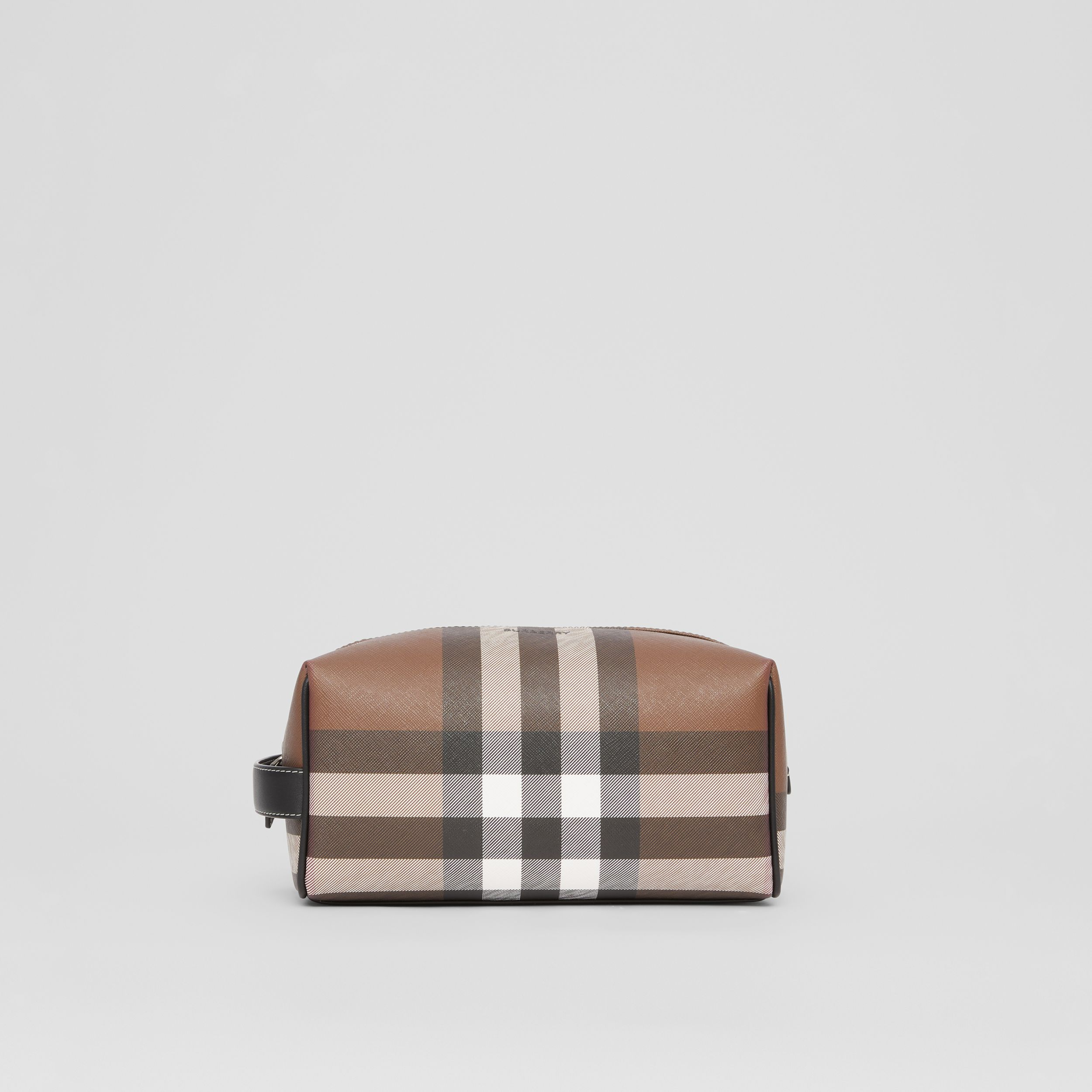 Check E-canvas Travel Pouch in Dark Birch Brown - Men | Burberry Singapore - 1