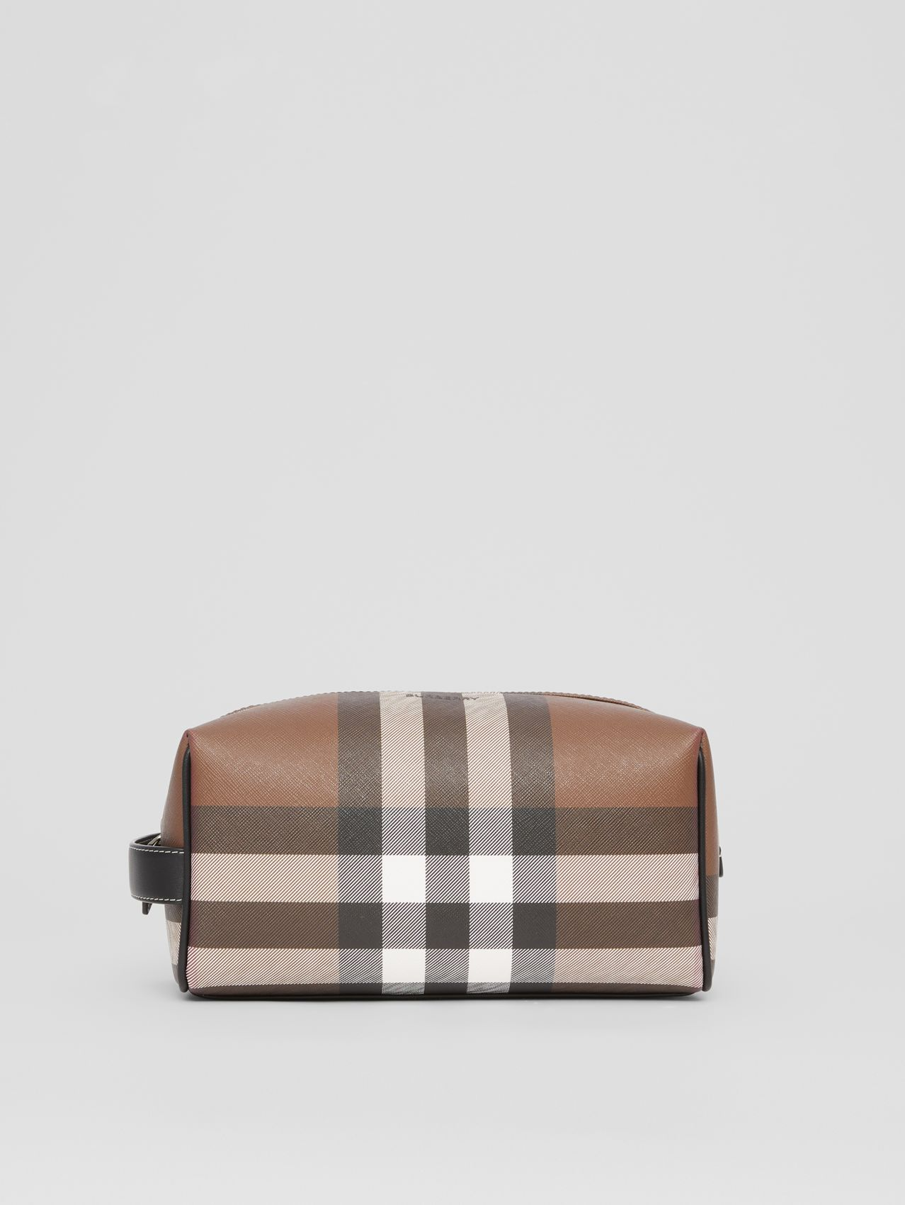 Trousse da viaggio in e-canvas con motivo tartan (Marrone Betulla Scuro)