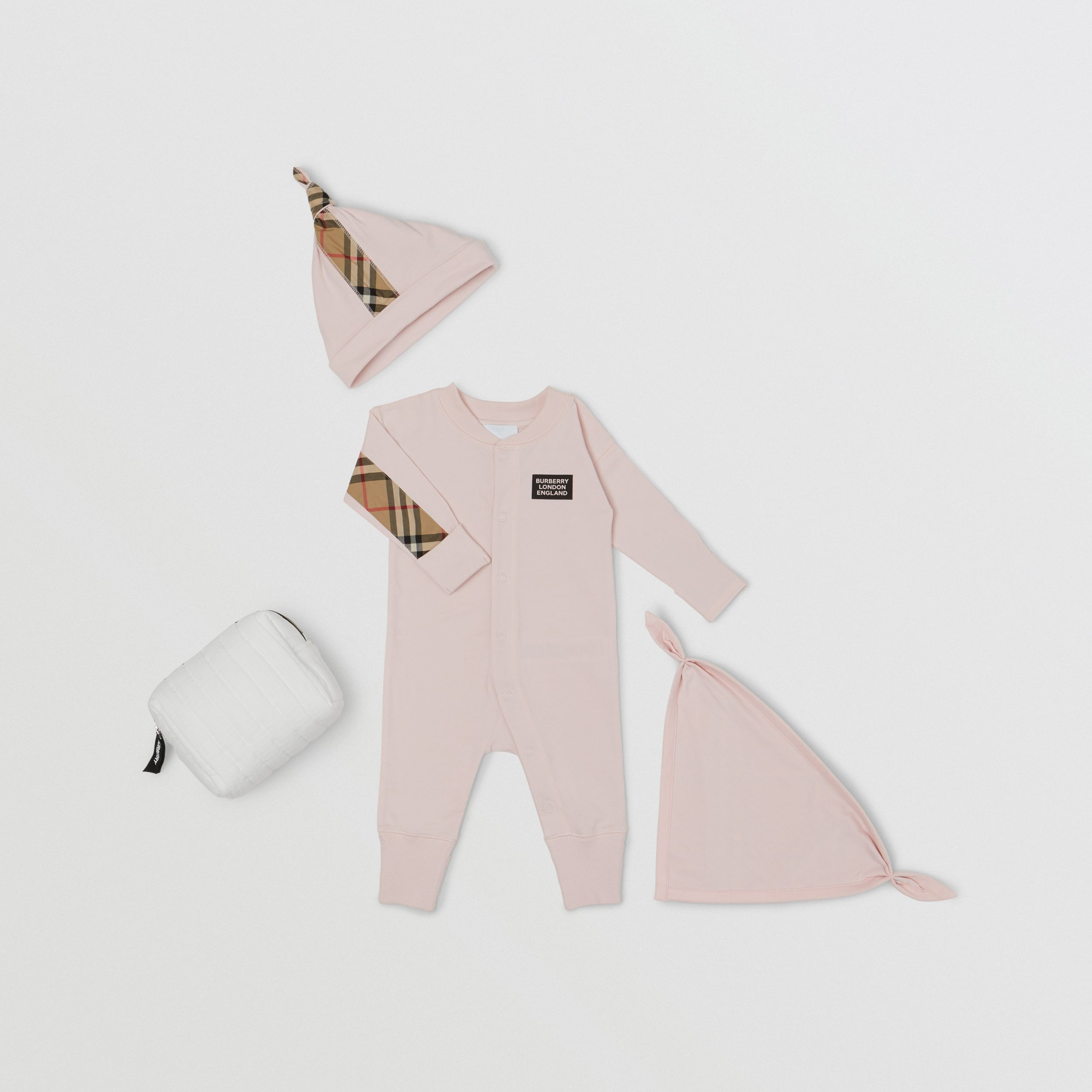 Check Trim Cotton Three-piece Baby Gift Set in Ice Pink - Children | Burberry Canada - 1