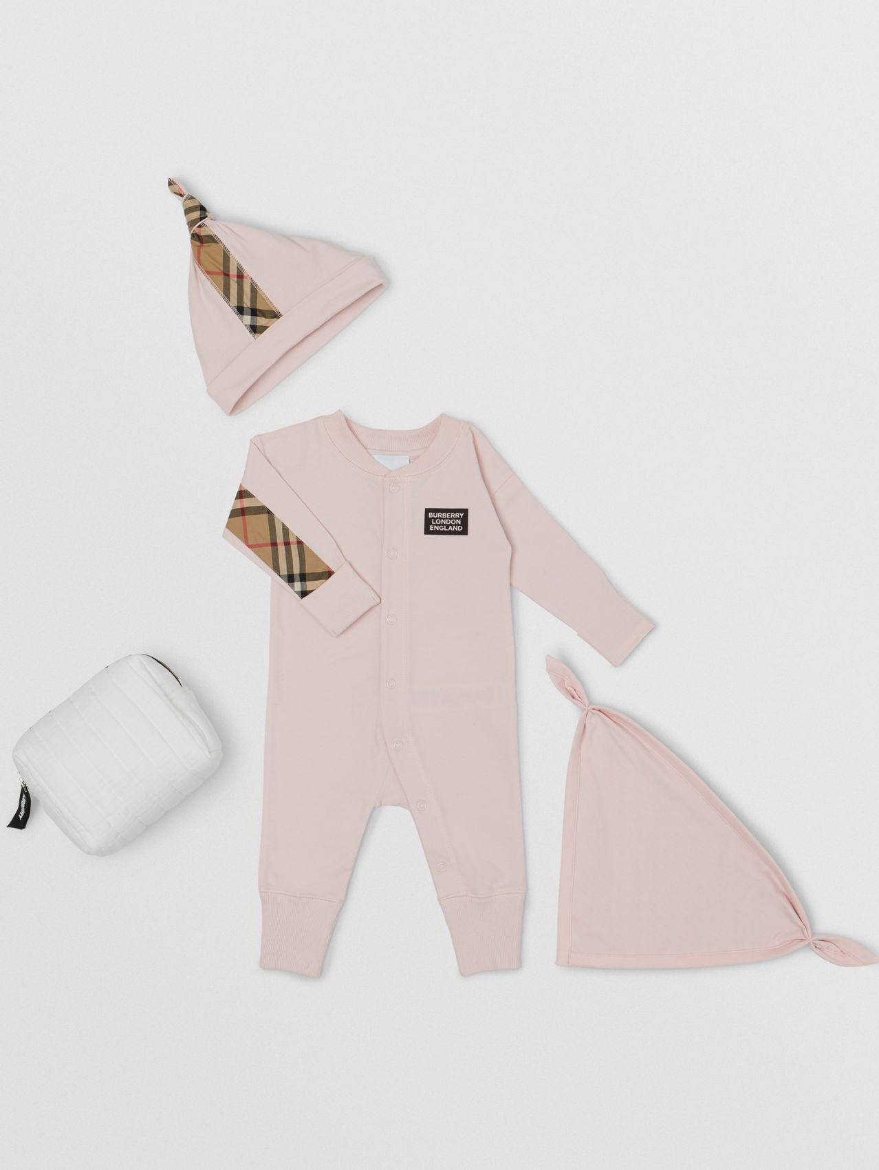 Check Trim Organic Cotton Three-piece Baby Gift Set