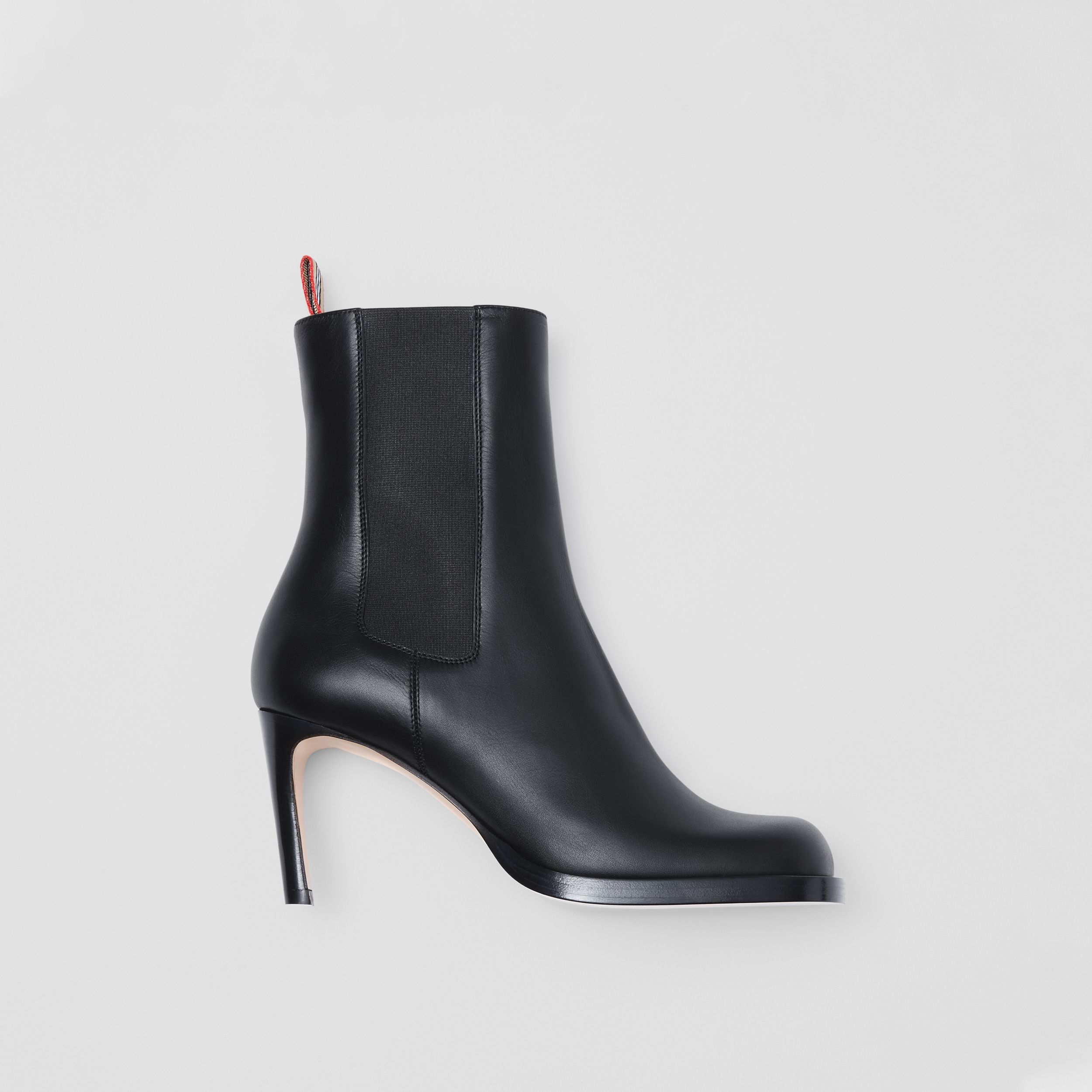 Icon Stripe Detail Leather Ankle Boots in Black - Women | Burberry - 1
