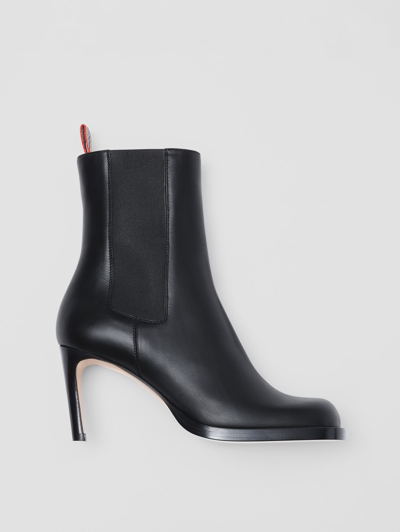 Icon Stripe Detail Leather Ankle Boots in Black