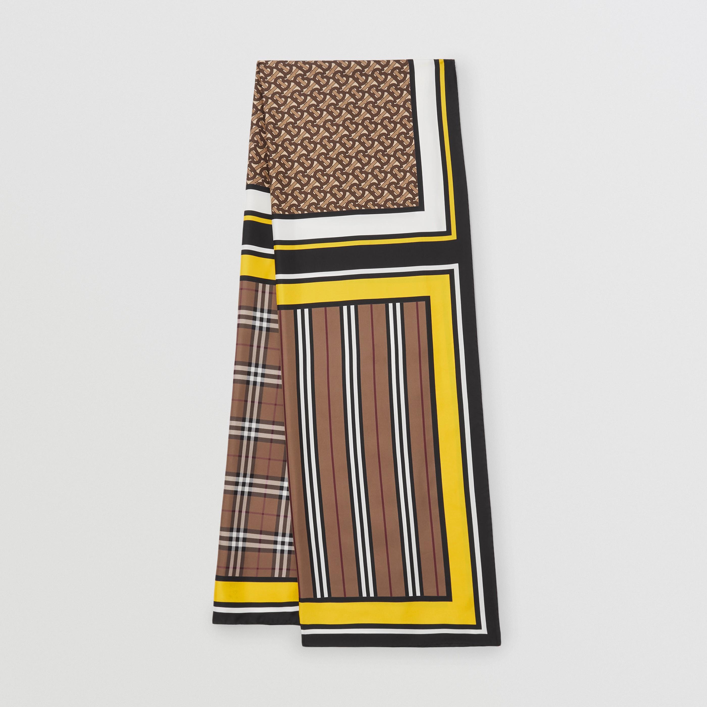 Sciarpa in seta con collage di stampe (Marrone Betulla) - Donna   Burberry - 1
