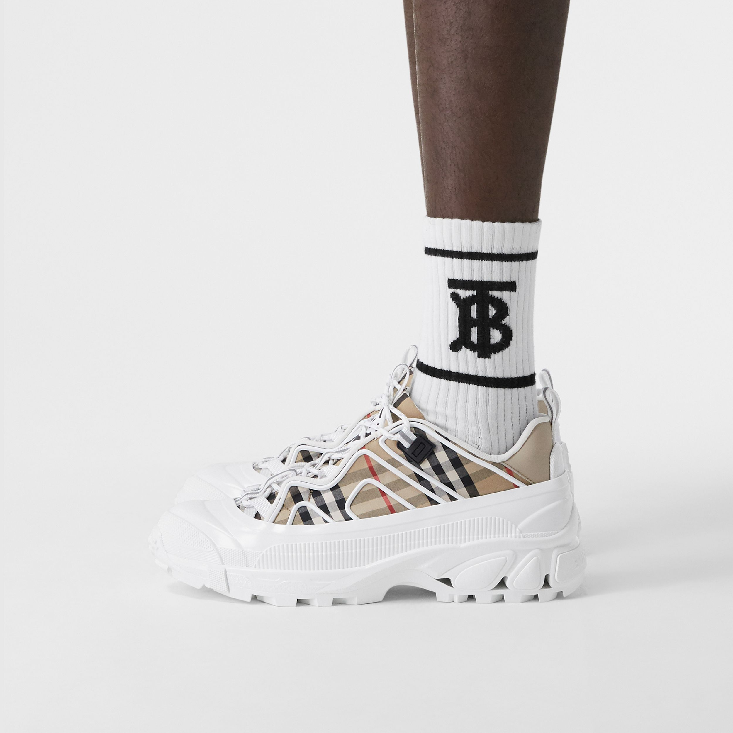 Vintage Check Cotton And Leather Arthur Sneakers in Archive Beige/white | Burberry United States - 3