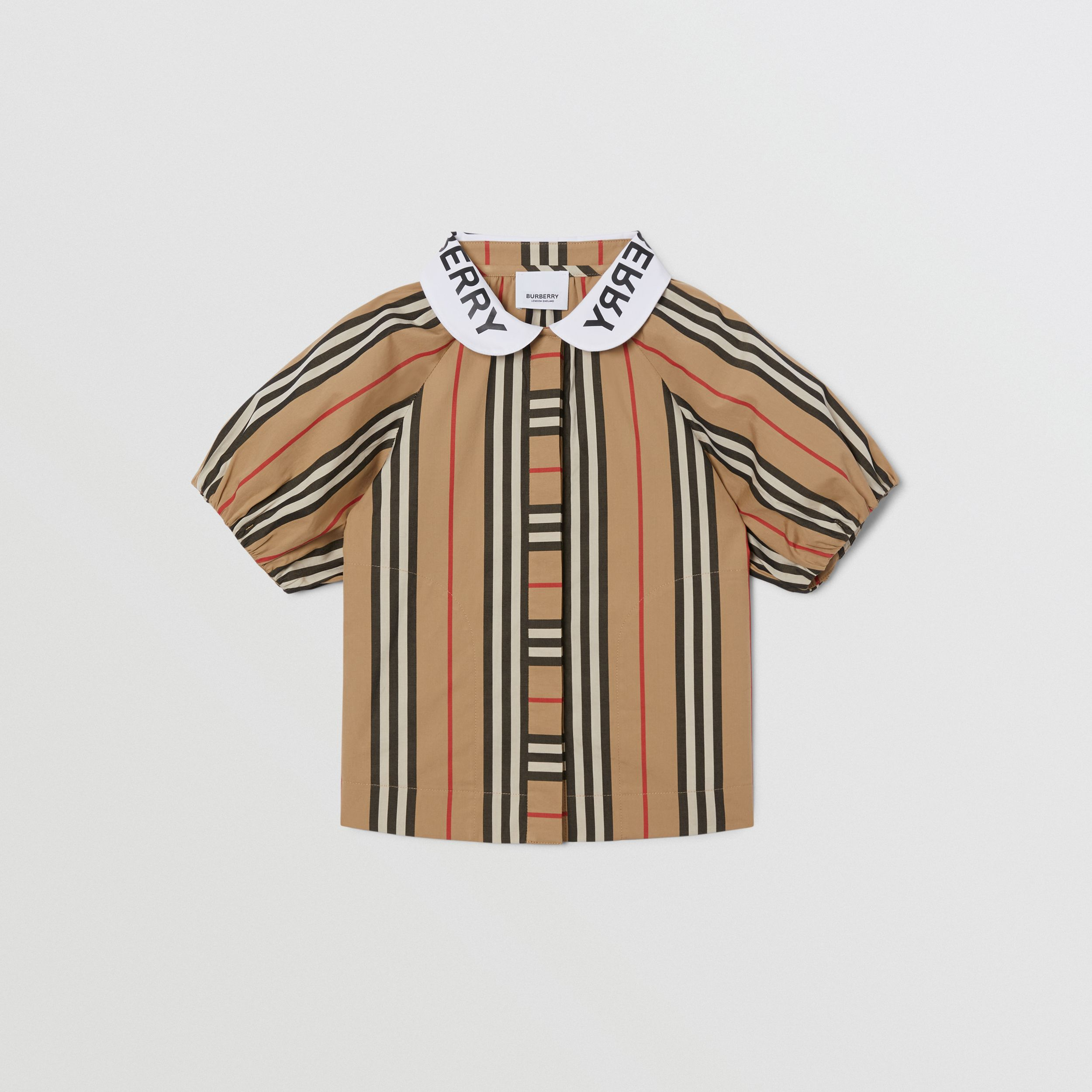 Logo Print Puff-sleeve Icon Stripe Cotton Blouse | Burberry Singapore - 1
