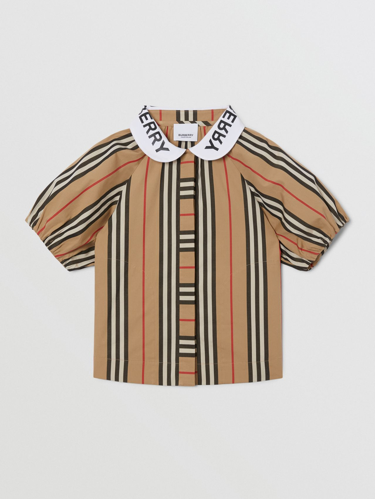 Logo Print Puff-sleeve Icon Stripe Cotton Blouse