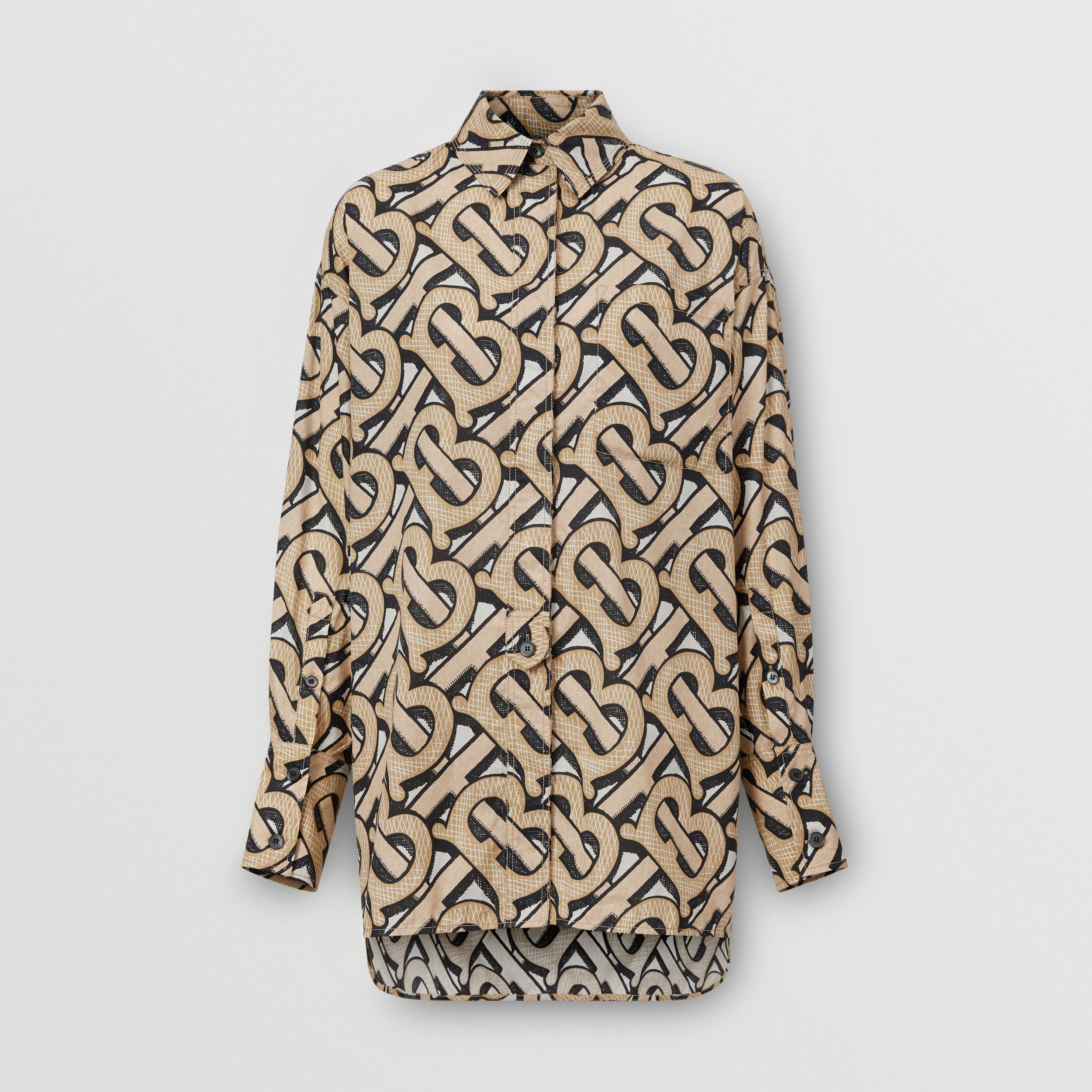 Monogram Print Cotton Poplin Oversized Shirt in Dark Beige - Women | Burberry - 4