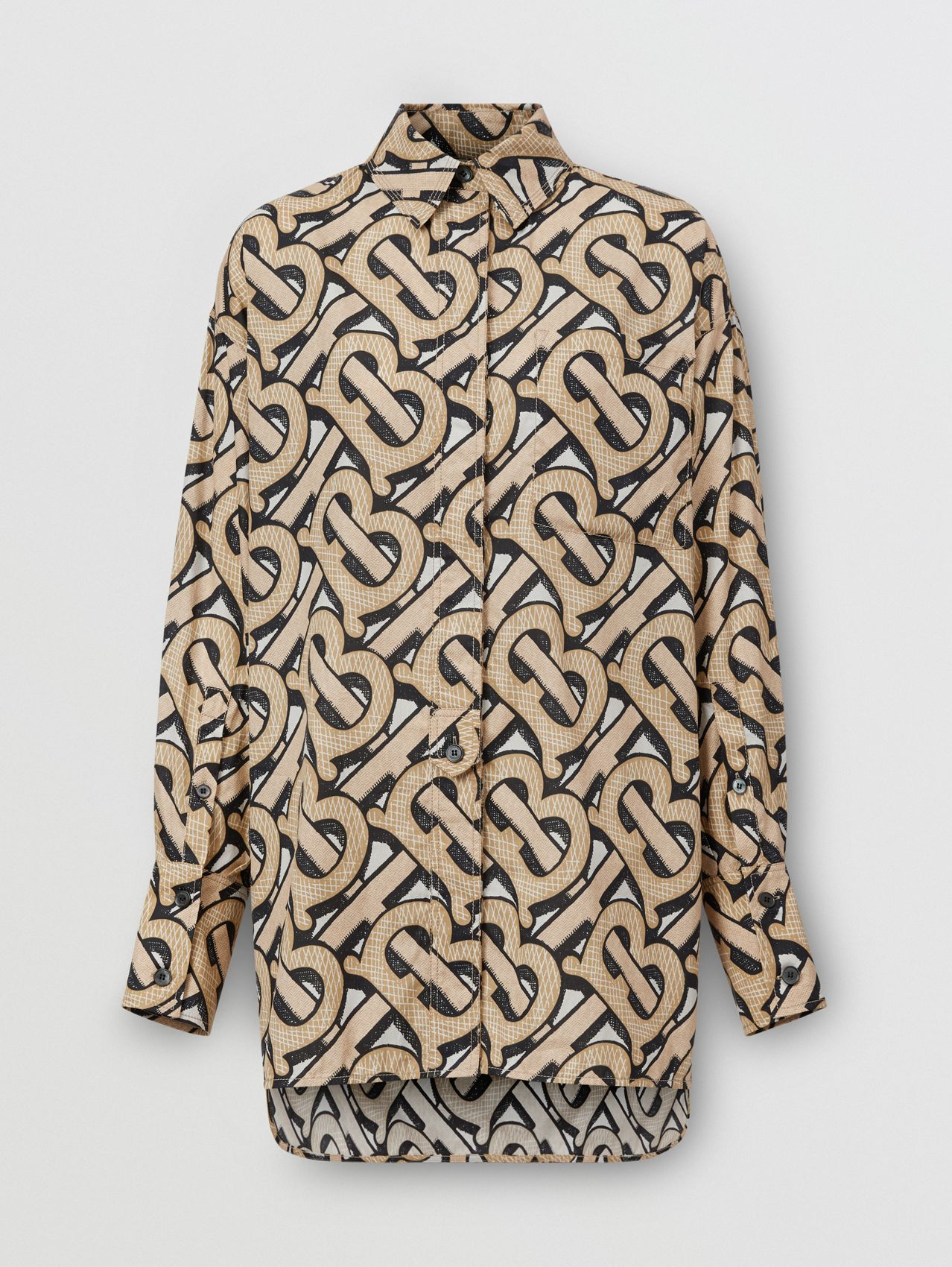 Monogram Print Cotton Poplin Oversized Shirt in Dark Beige