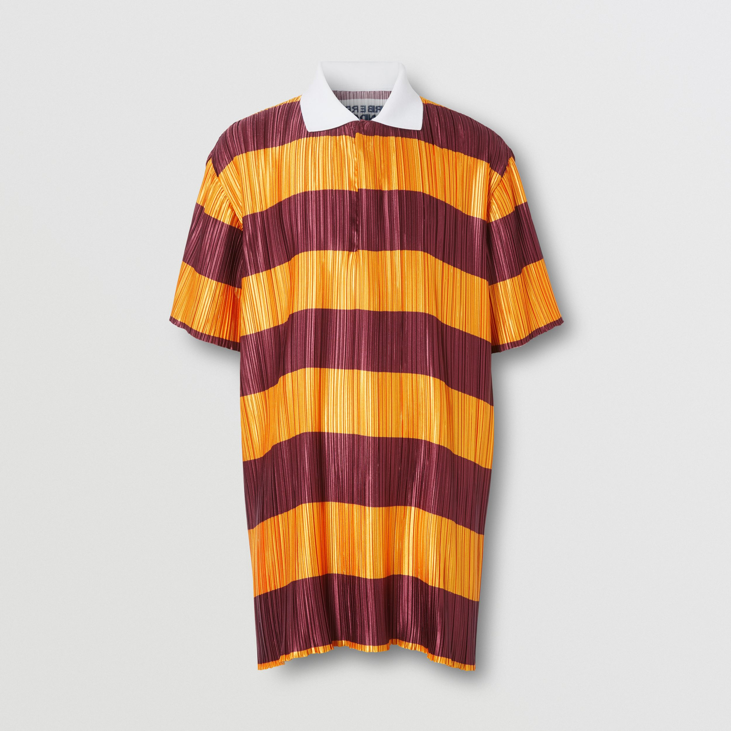 Striped Satin Plissé Polo Shirt in Citrus Orange | Burberry - 4