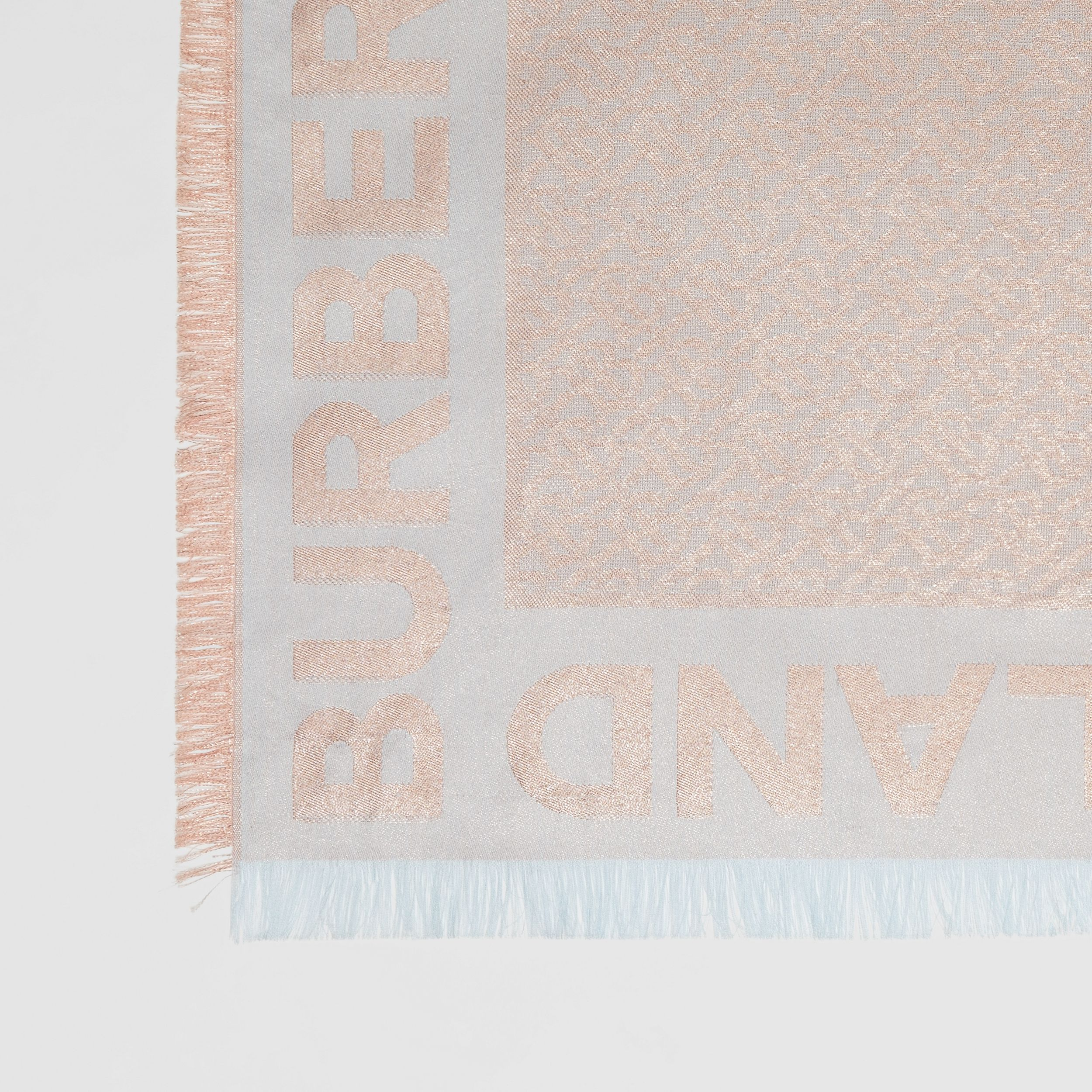 Metallic Monogram Silk Blend Large Square Scarf | Burberry - 2
