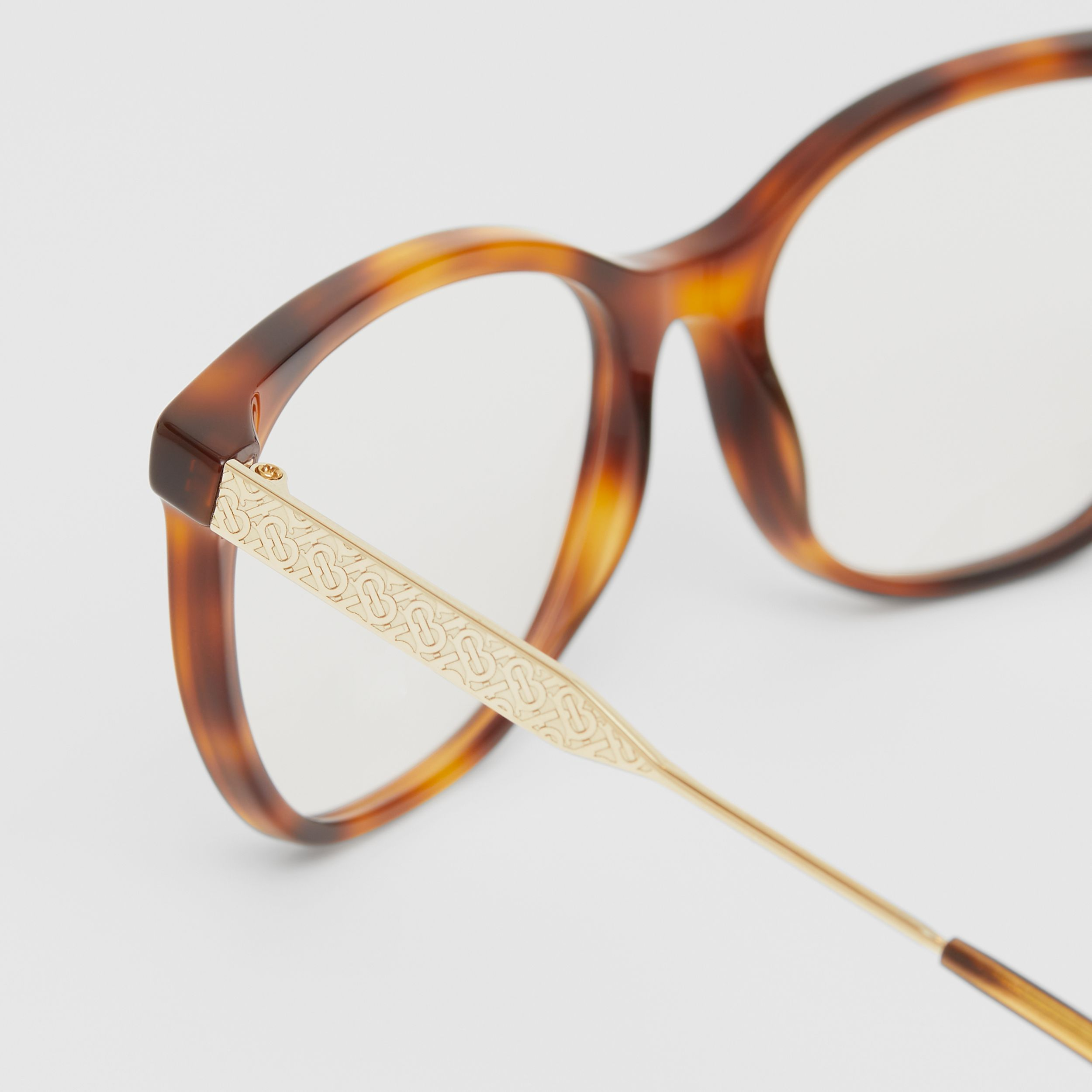 Cat-eye Optical Frames in Dark Amber Tortoiseshell - Women | Burberry - 2