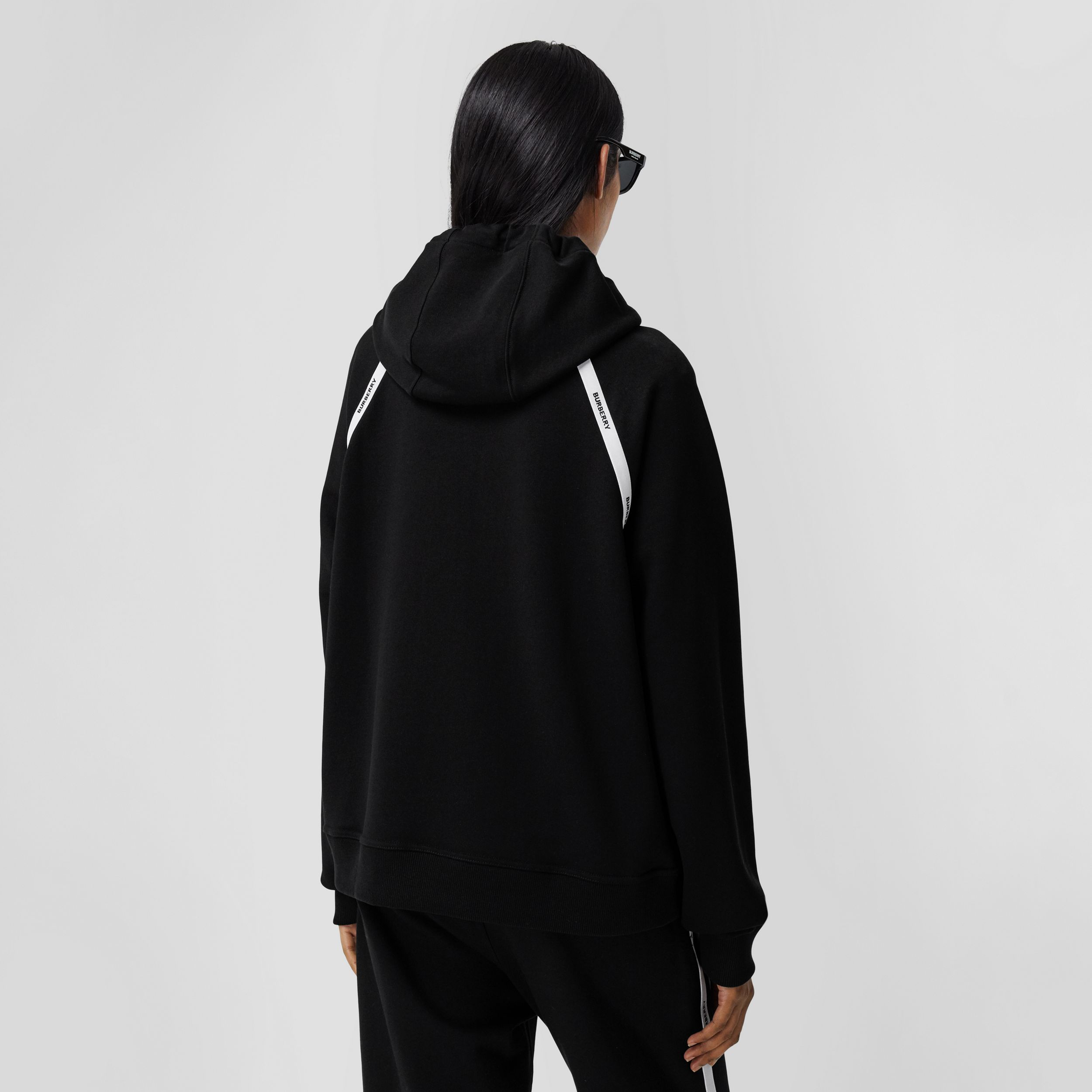 Logo Tape Cotton Oversized Hoodie in Black - Women | Burberry United Kingdom - 3