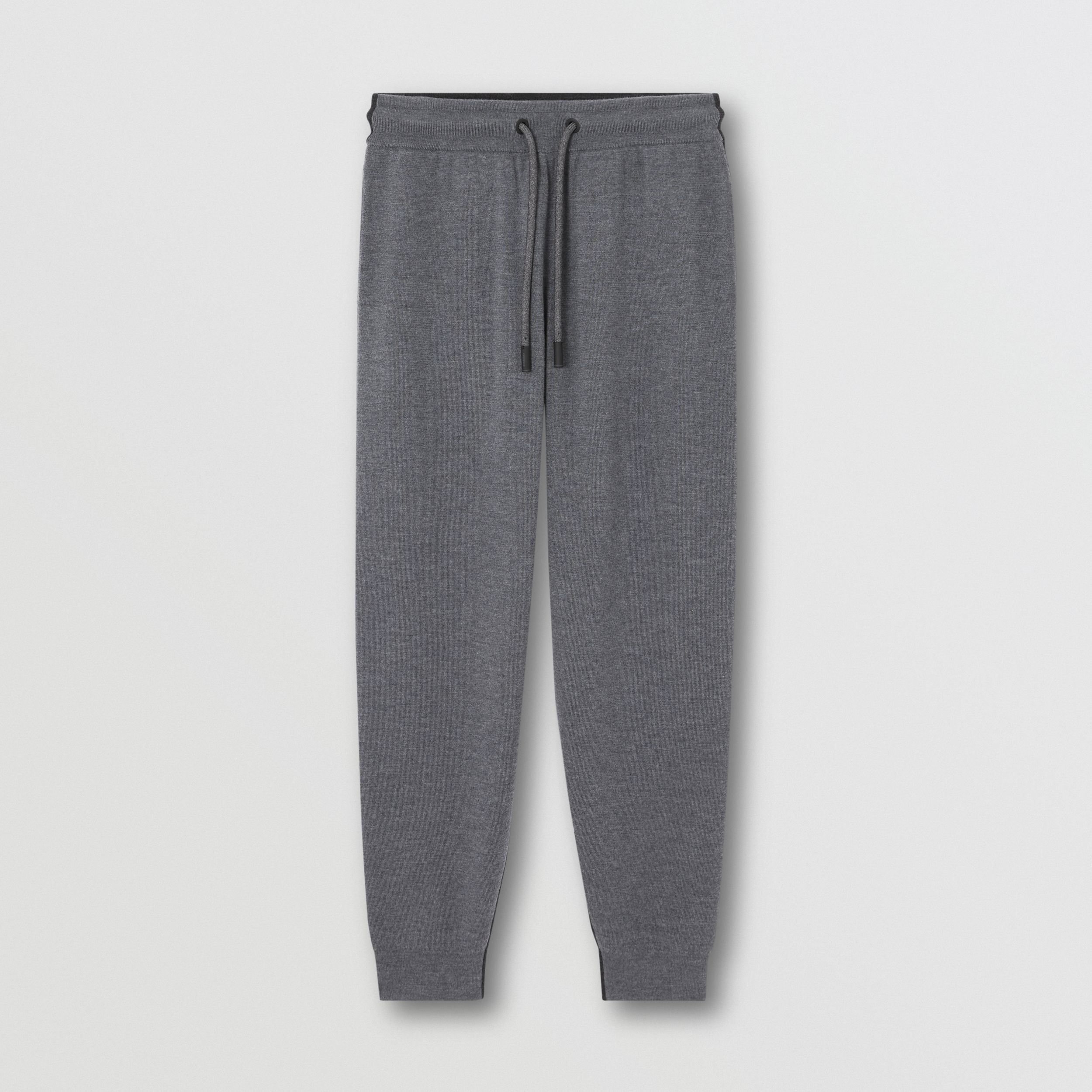Two-tone Merino Wool Drawcord Jogging Pants in Charcoal Melange - Women | Burberry - 4
