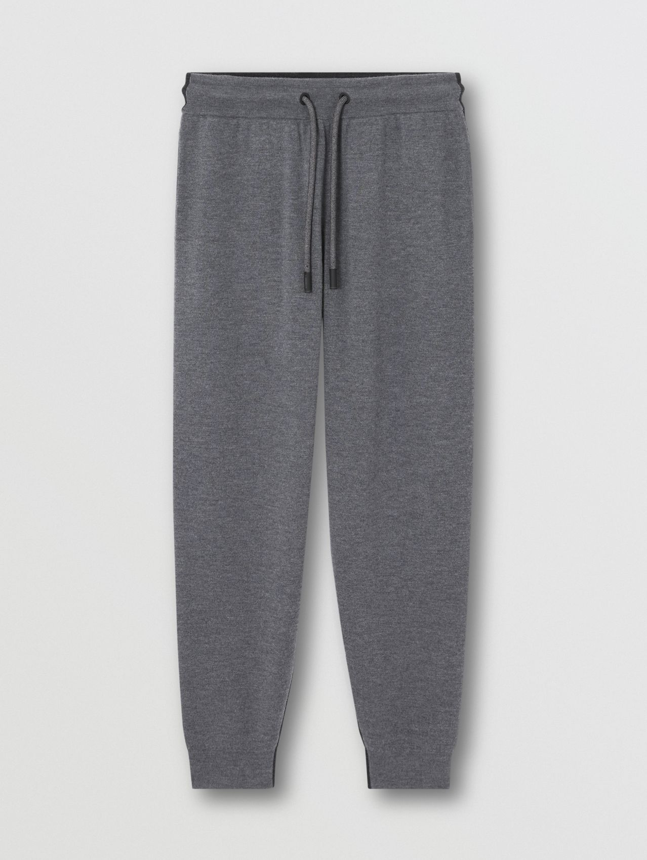 Two-tone Merino Wool Drawcord Jogging Pants in Charcoal Melange